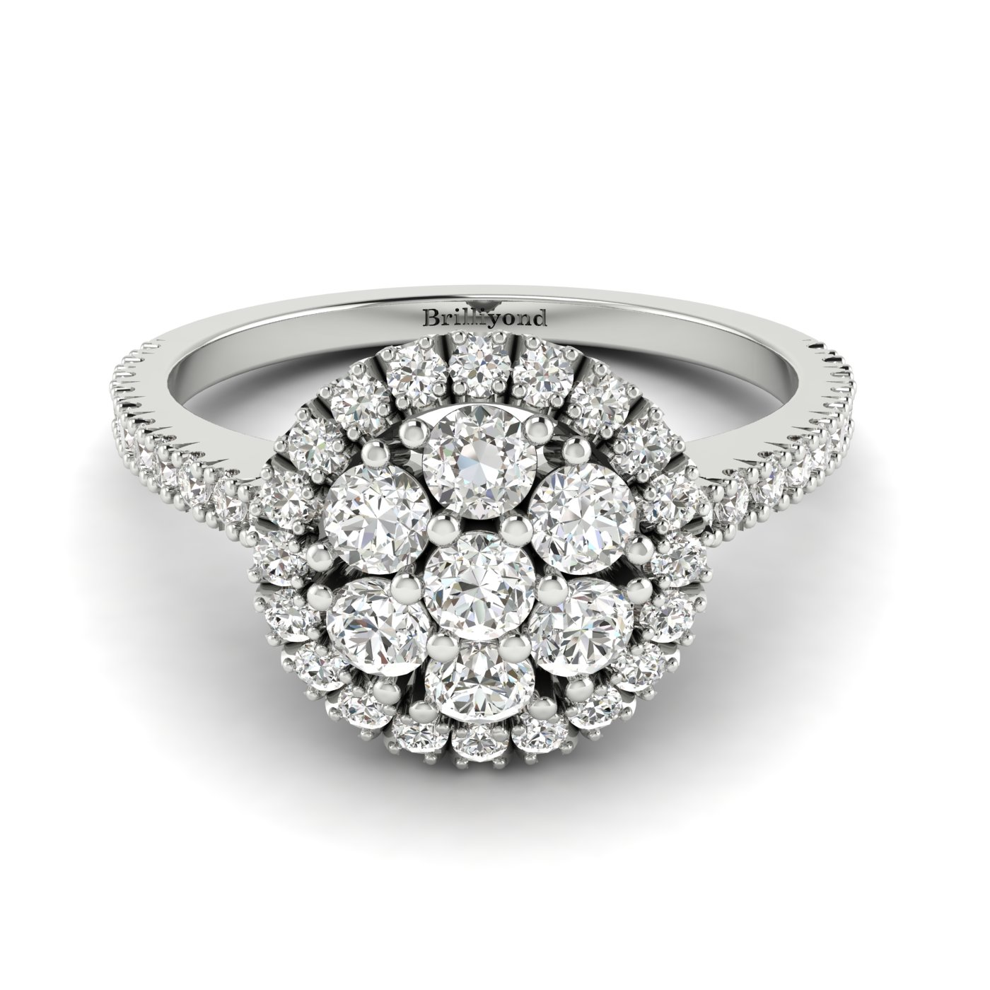 Diamond Platinum Cluster Engagement Ring Lantana_image2