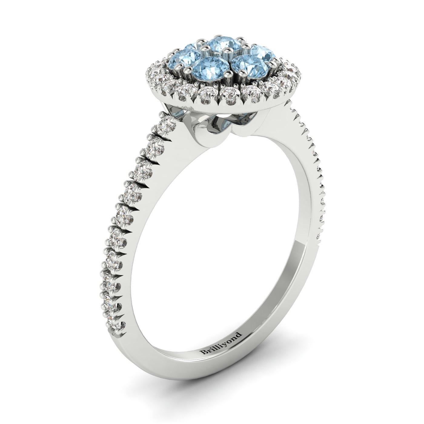 Aquamarine White Gold Cluster Engagement Ring Lantana_image2