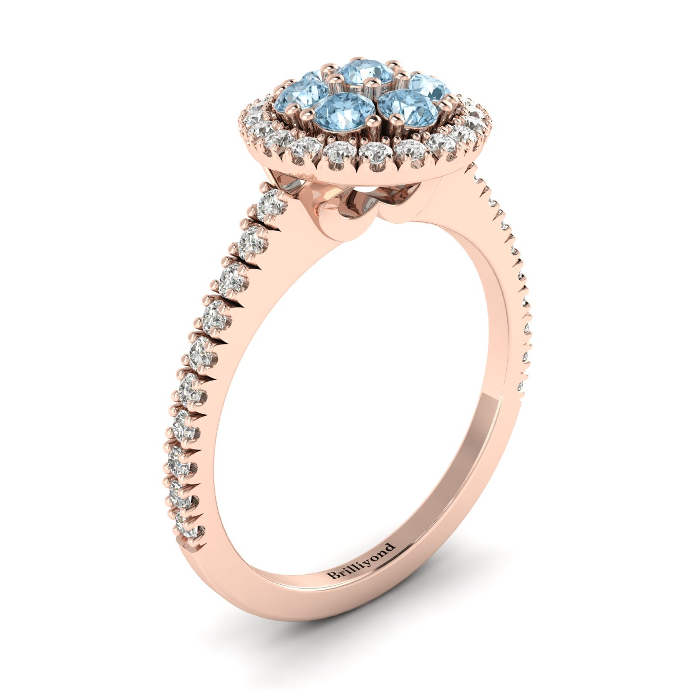 Aquamarine Rose Gold Cluster Engagement Ring Lantana_image1