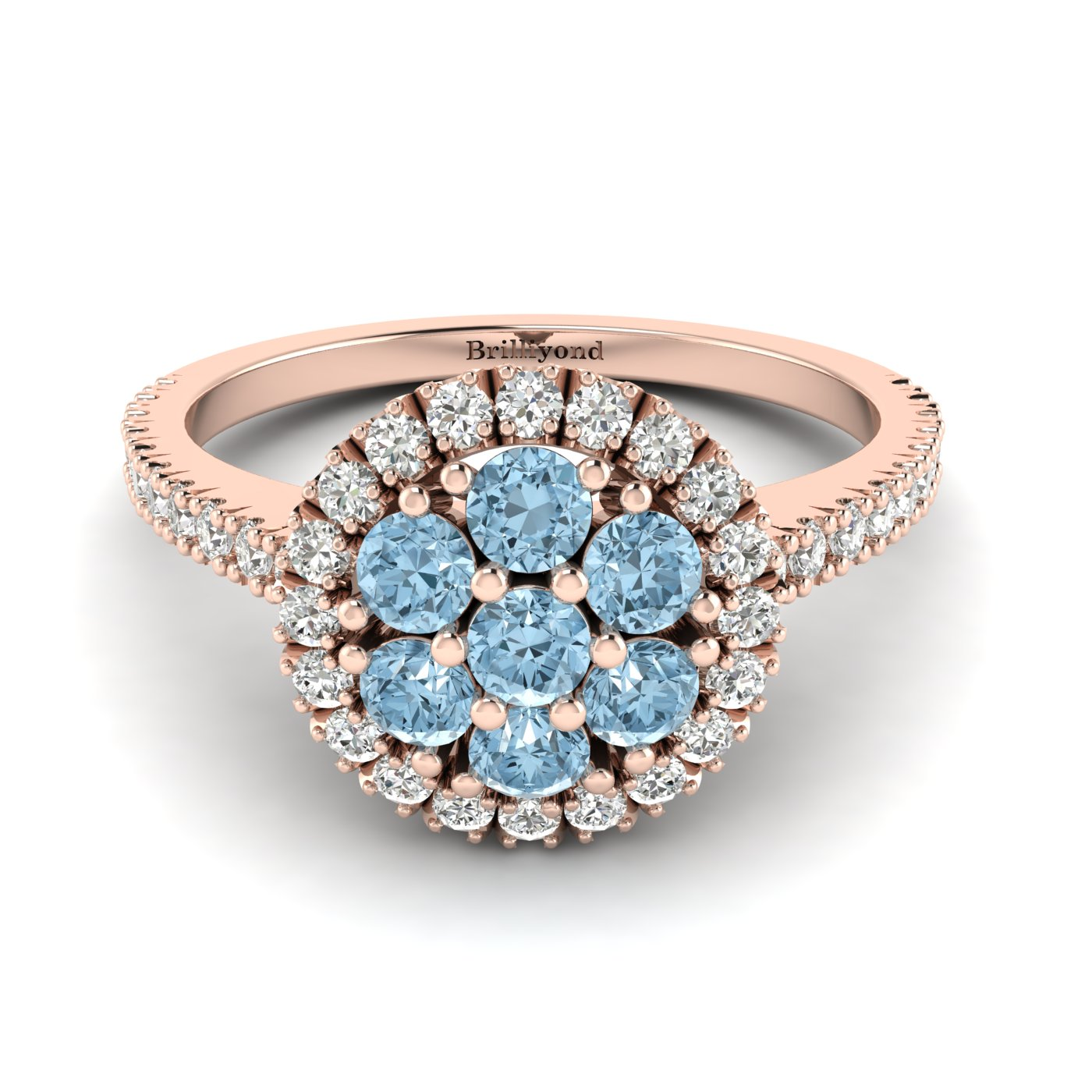 Aquamarine Rose Gold Cluster Engagement Ring Lantana_image2