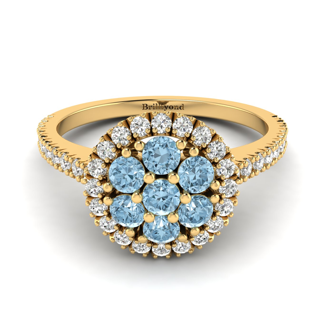 Aquamarine Yellow Gold Cluster Engagement Ring Lantana_image1