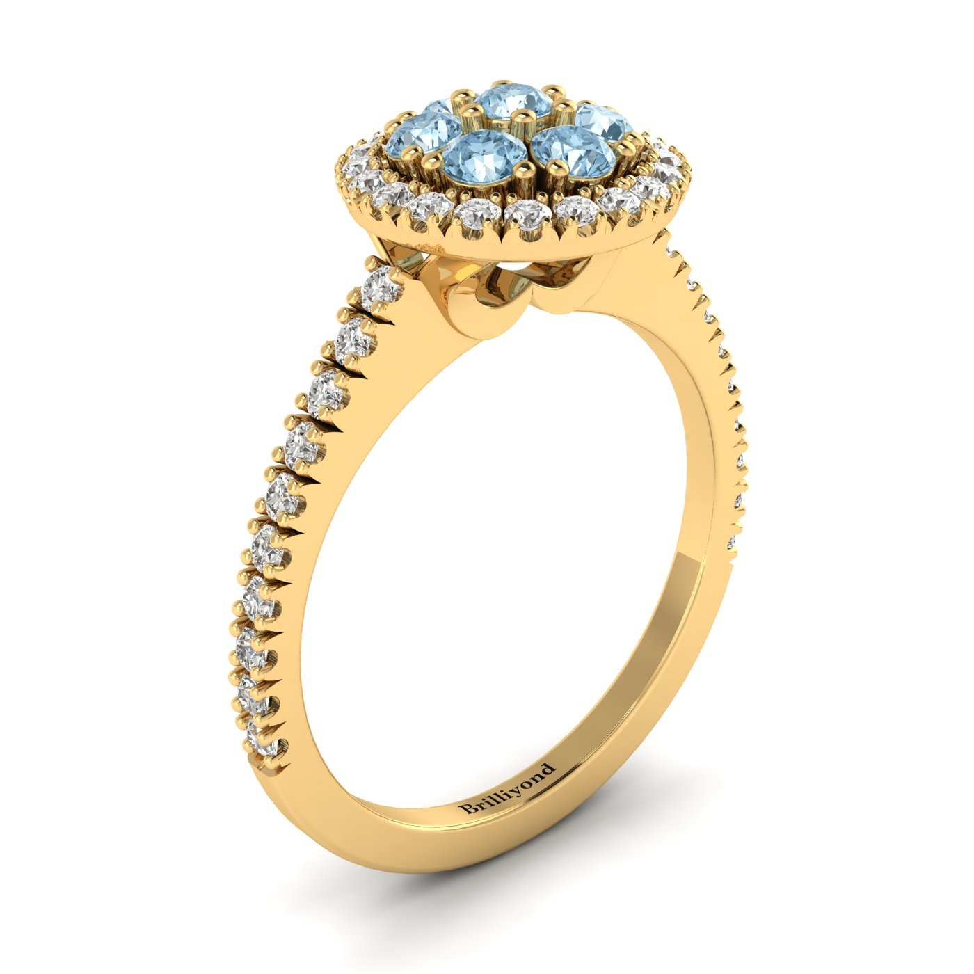 Aquamarine Yellow Gold Cluster Engagement Ring Lantana_image2