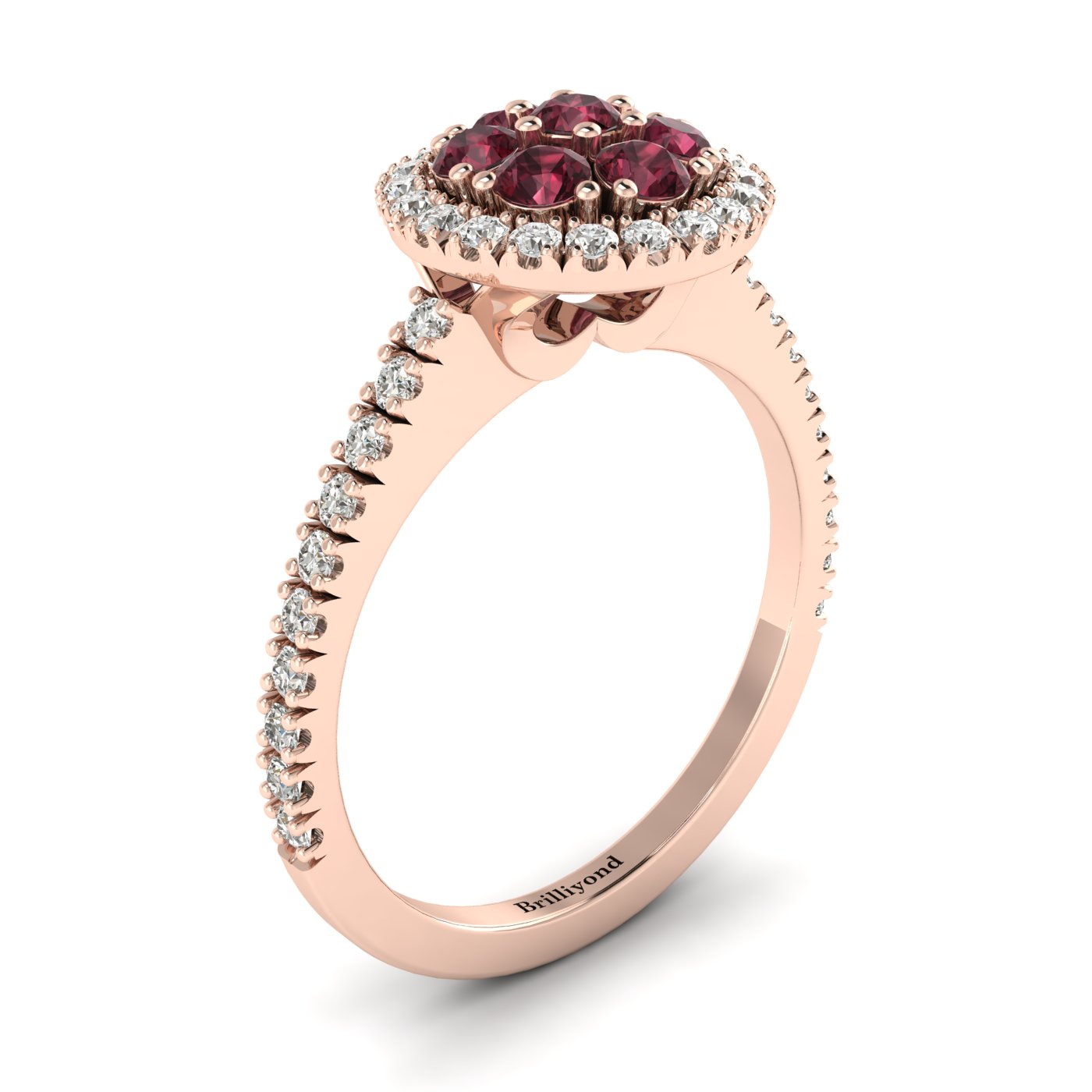 Garnet Rose Gold Cluster Engagement Ring Lantana_image1