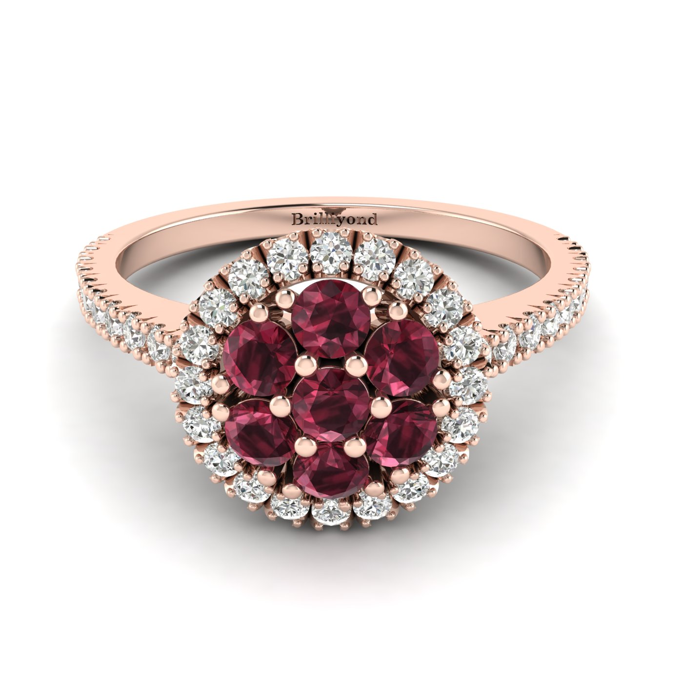 Garnet Rose Gold Cluster Engagement Ring Lantana_image2