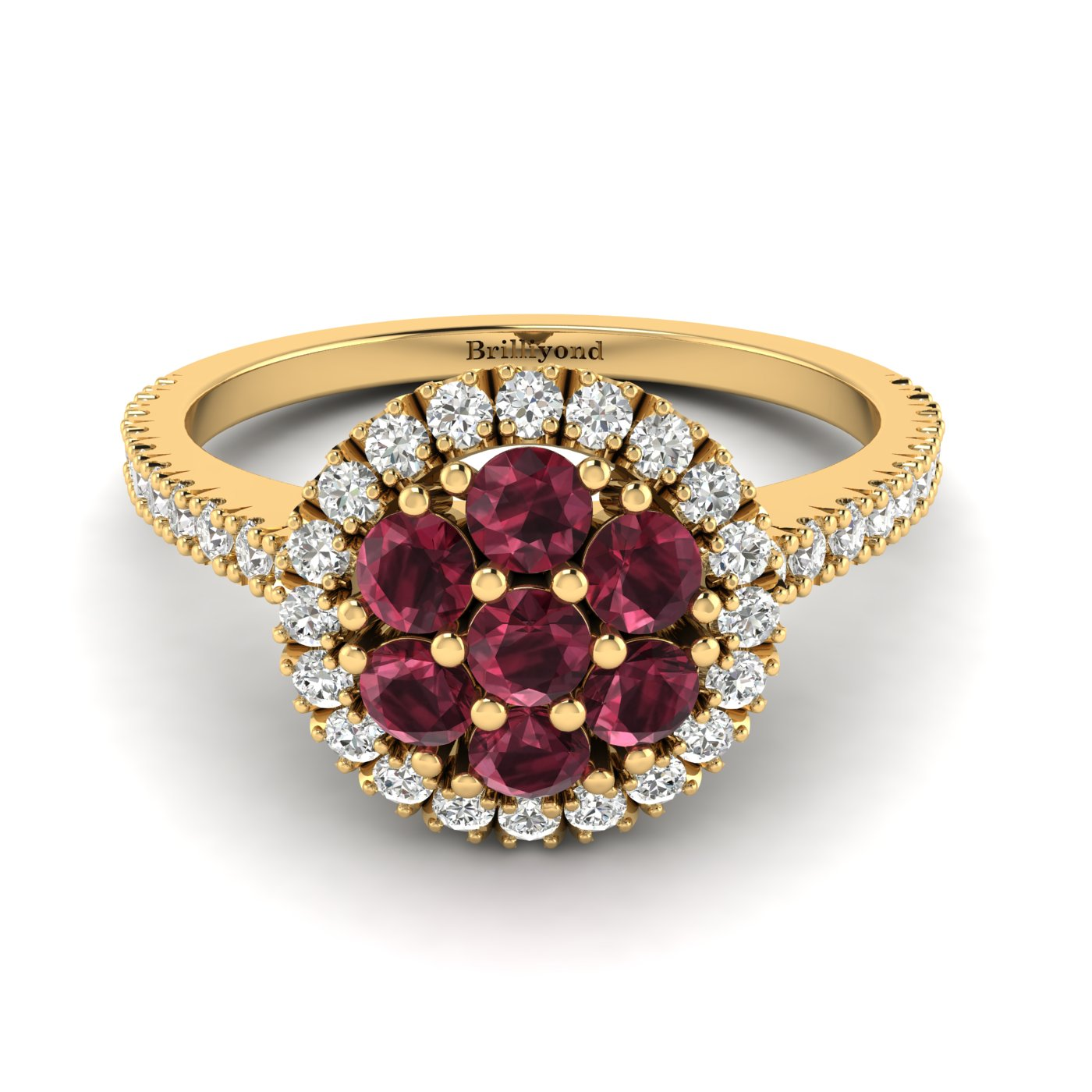 Garnet Yellow Gold Cluster Engagement Ring Lantana_image1