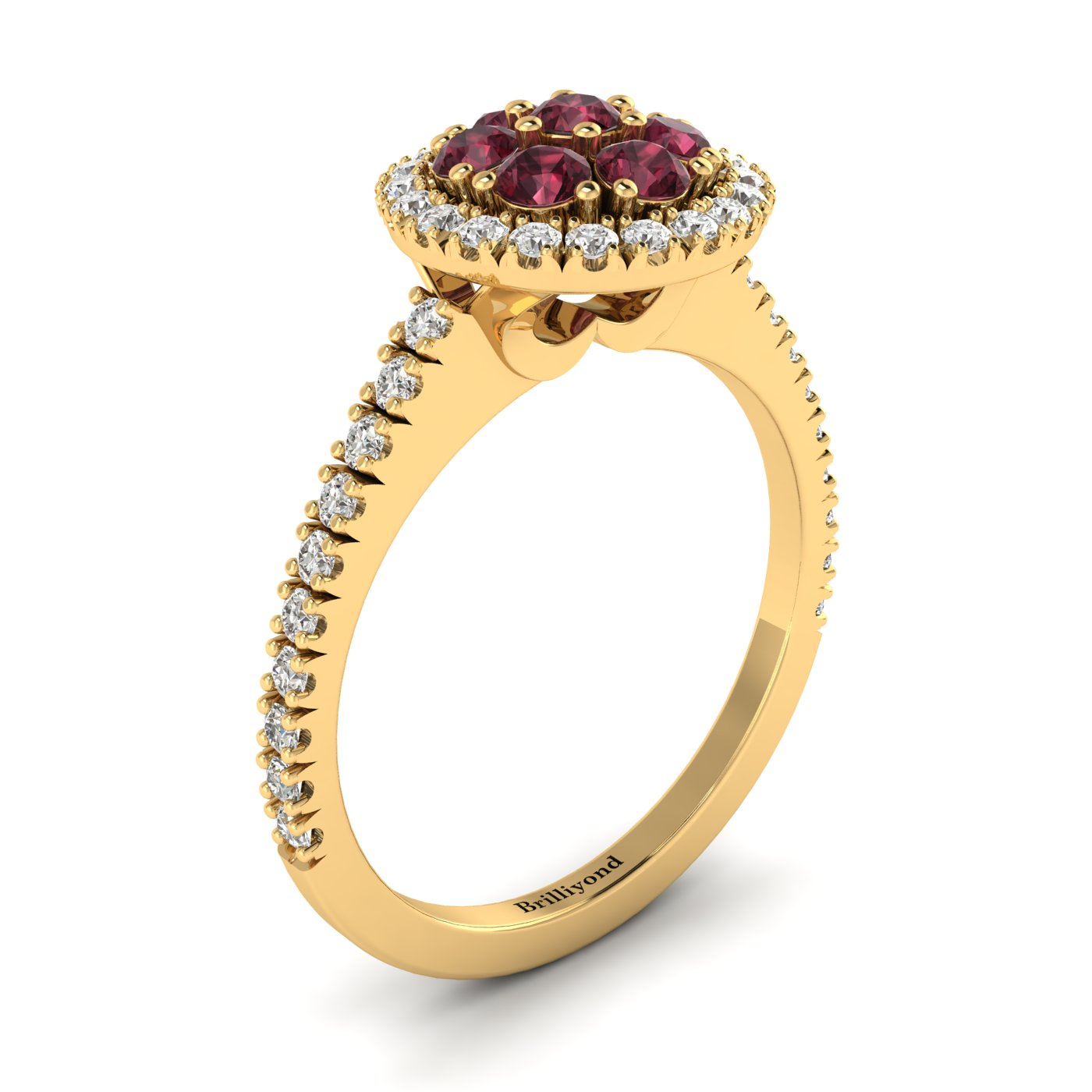 Garnet Yellow Gold Cluster Engagement Ring Lantana_image2