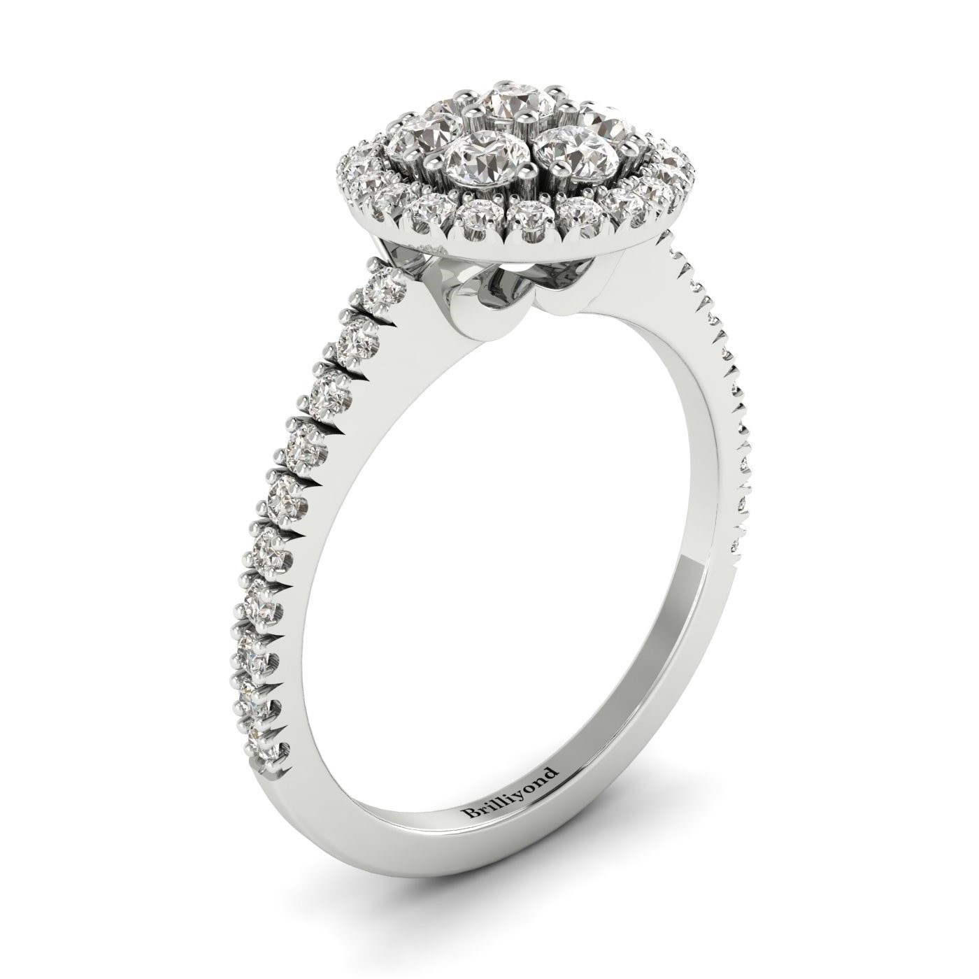 White Sapphire White Gold Cluster Engagement Ring Lantana_image2