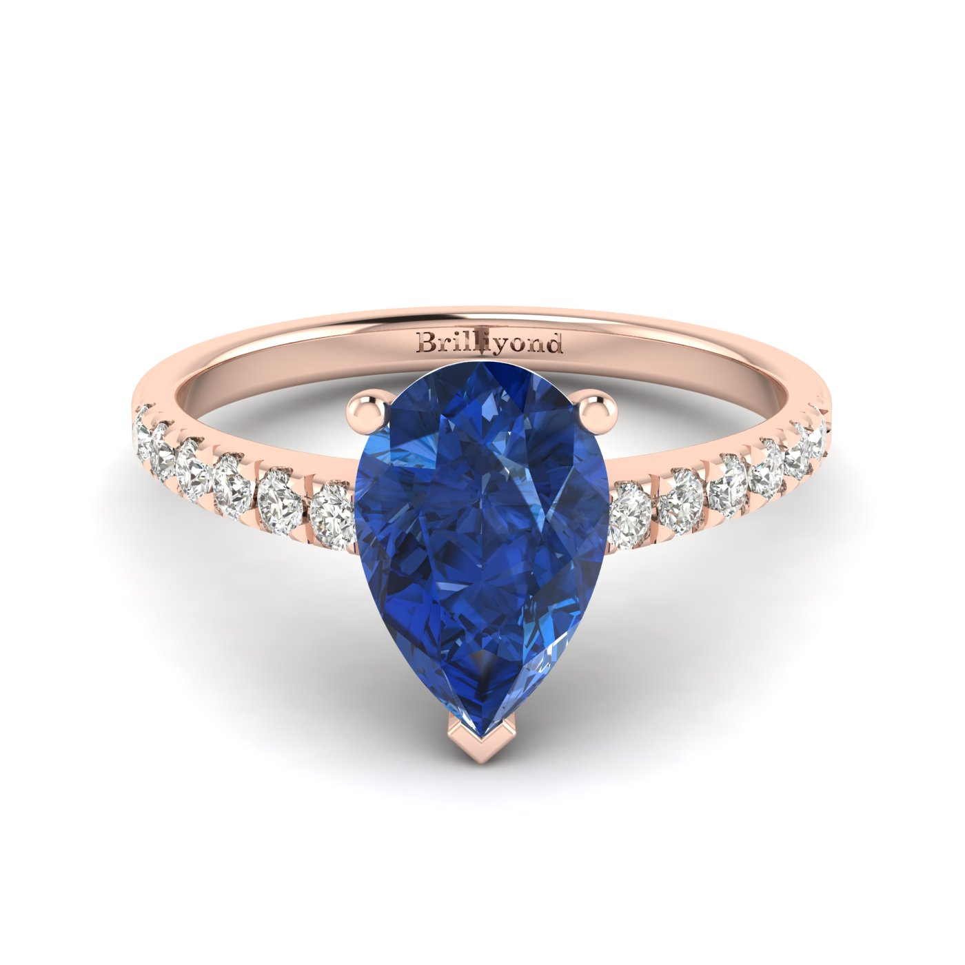 Pear Shaped Blue Ceylon Sapphire on 18k Rose Gold Band