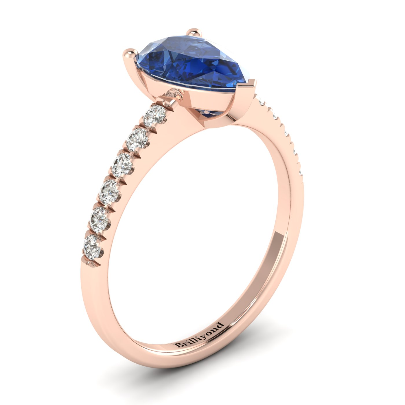 Solid 18k Rose Gold Engagement Ring with Blue Ceylon Sapphire and GIA Certified Diamond Accents