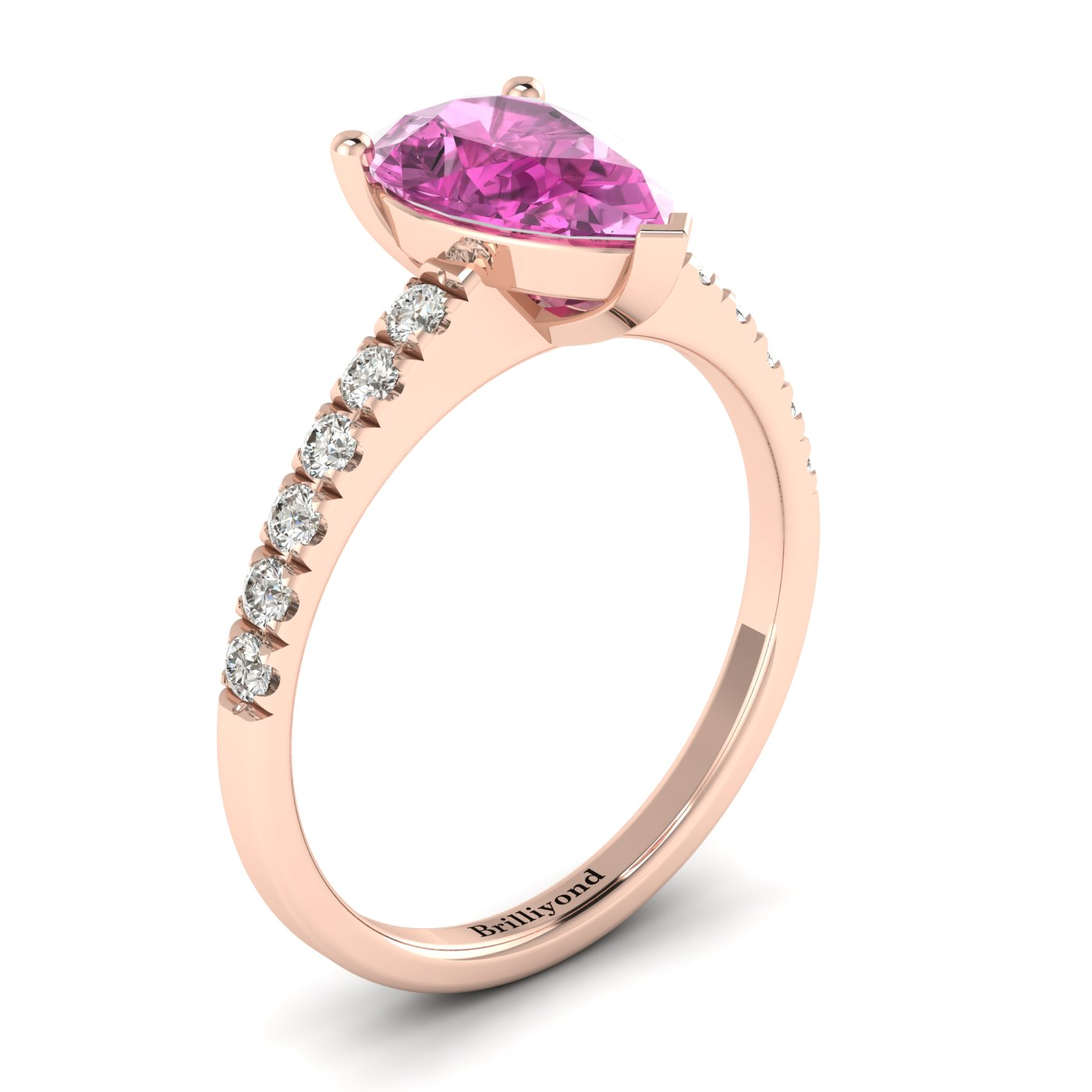 Pink Sapphire Rose Gold Solitaire Engagement Ring Hera_image1