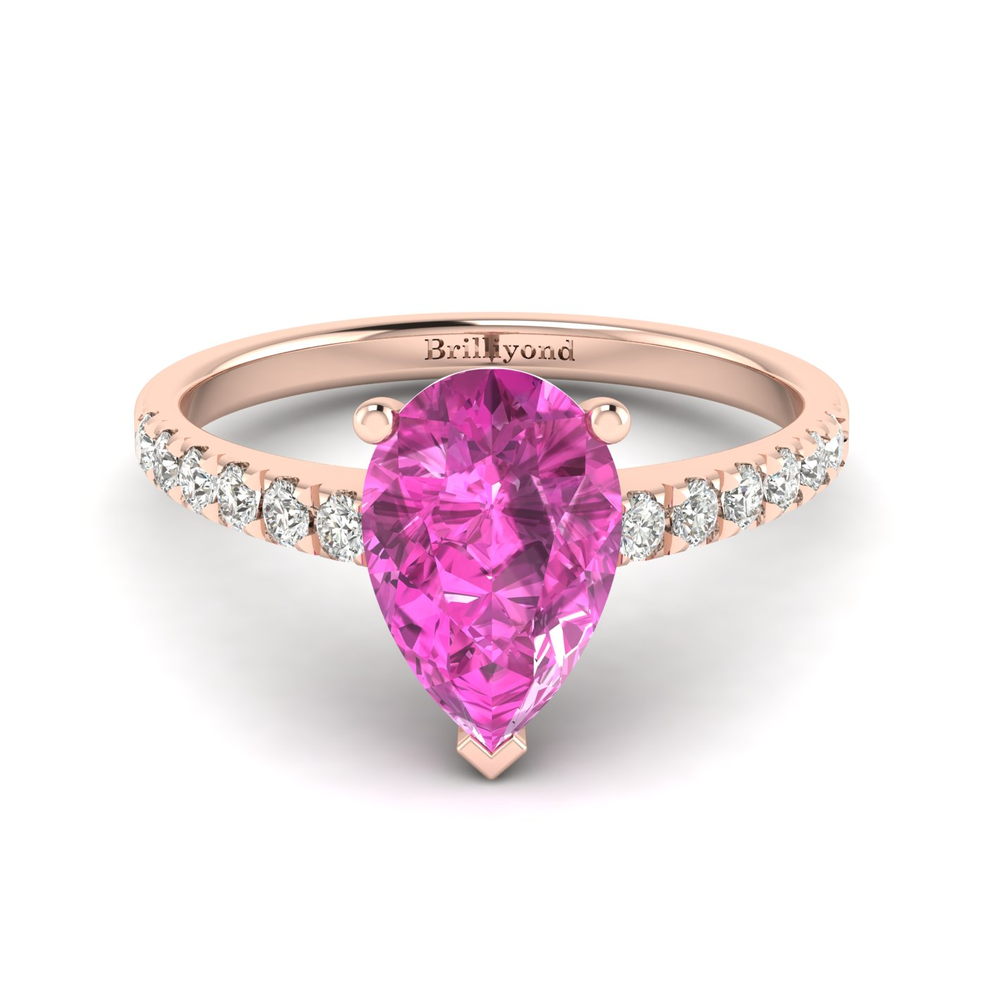 Pink Sapphire Rose Gold Solitaire Engagement Ring Hera_image2