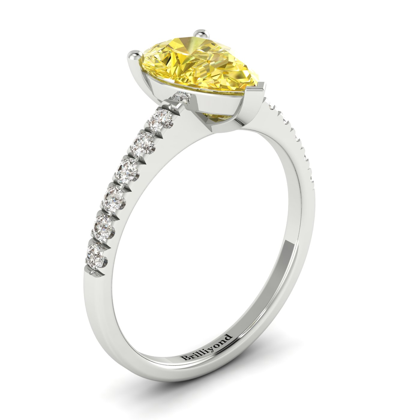 Yellow Sapphire White Gold Solitaire Engagement Ring Hera_image1