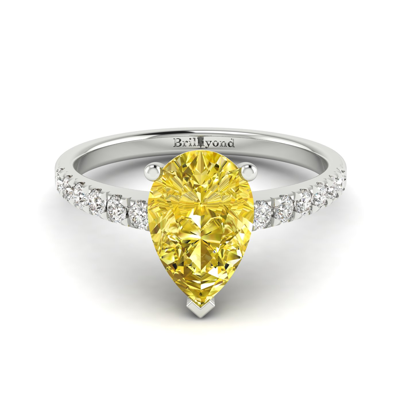Yellow Sapphire White Gold Solitaire Engagement Ring Hera_image2