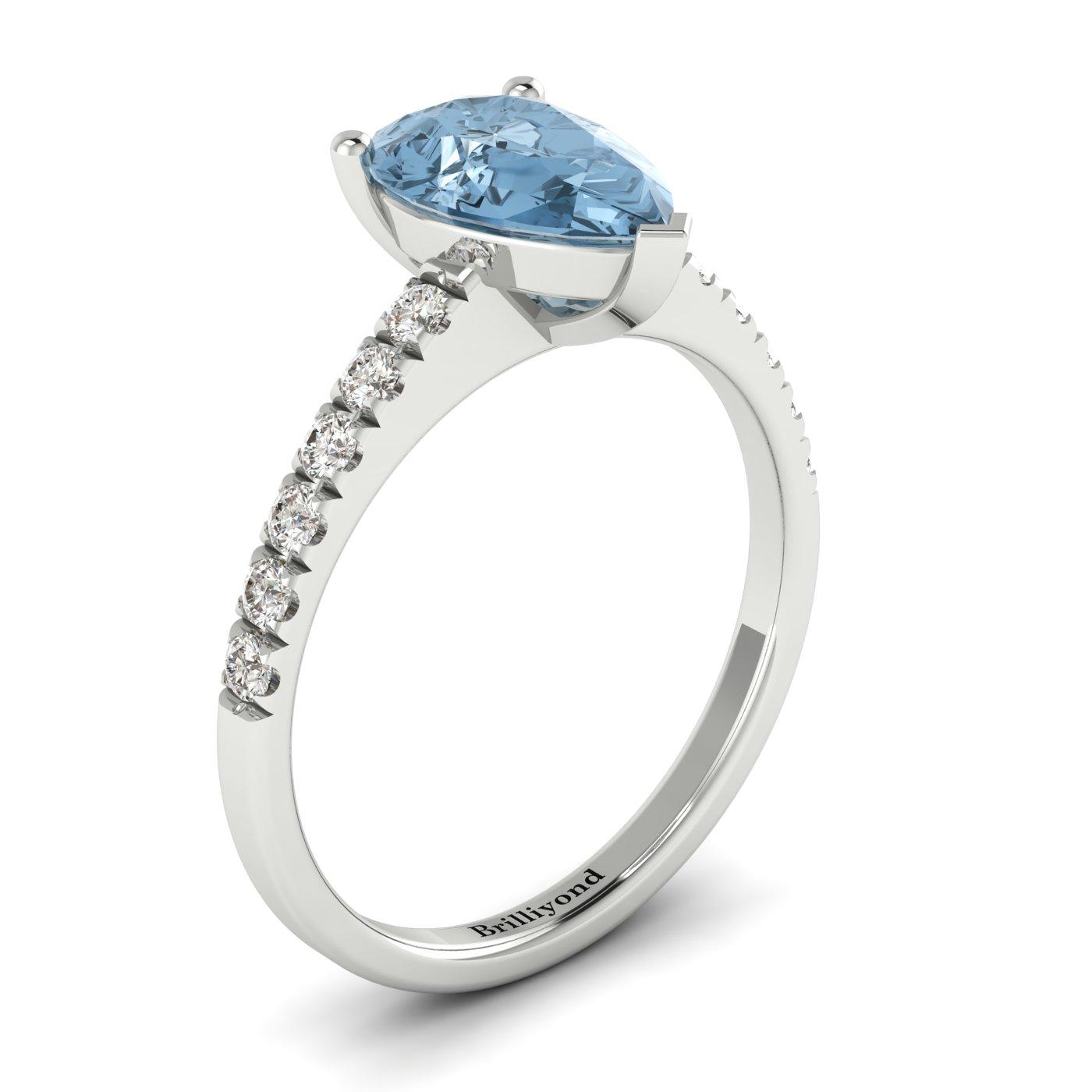 Diamond Accented Natural Aquamarine Solitaire Engagement Ring