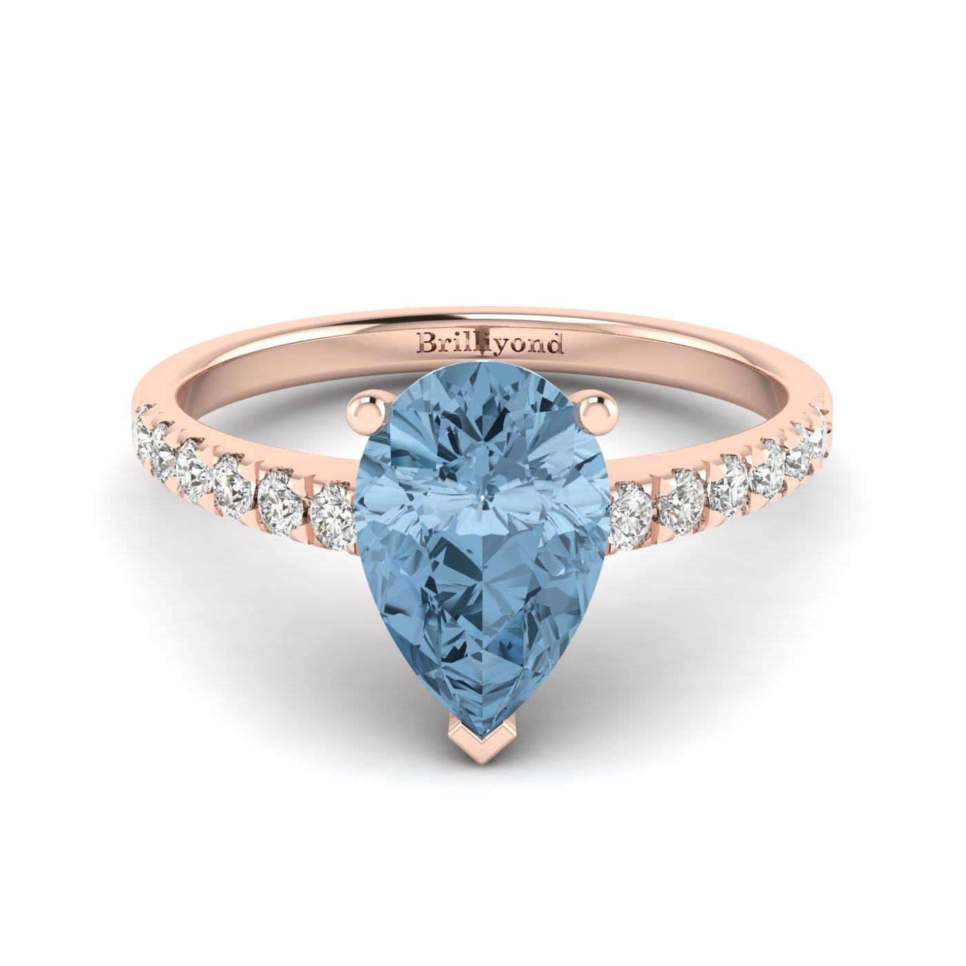 Rose Gold Solitaire Engagement Ring with Aquamarine Centre Stone