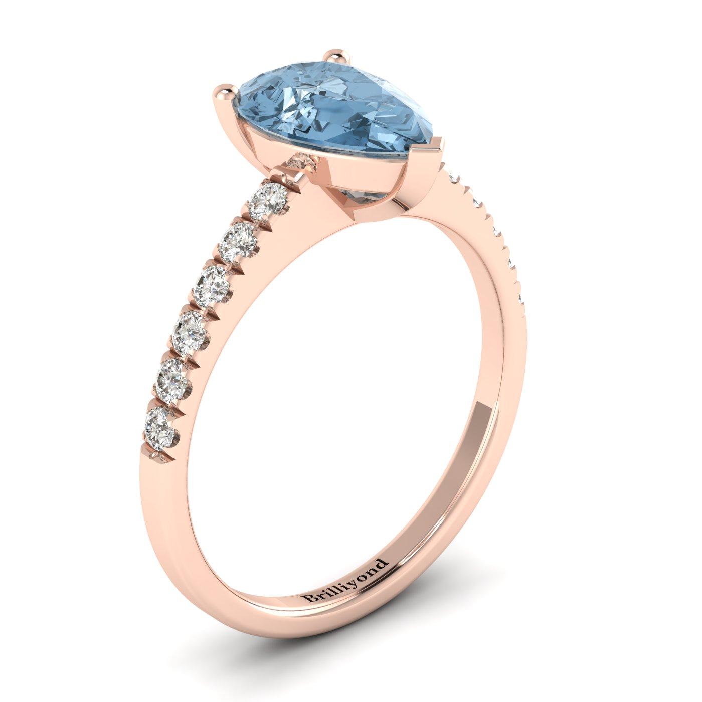 Three Pronged Aquamarine and Diamonds Solitaire Engagement Ring in Australia
