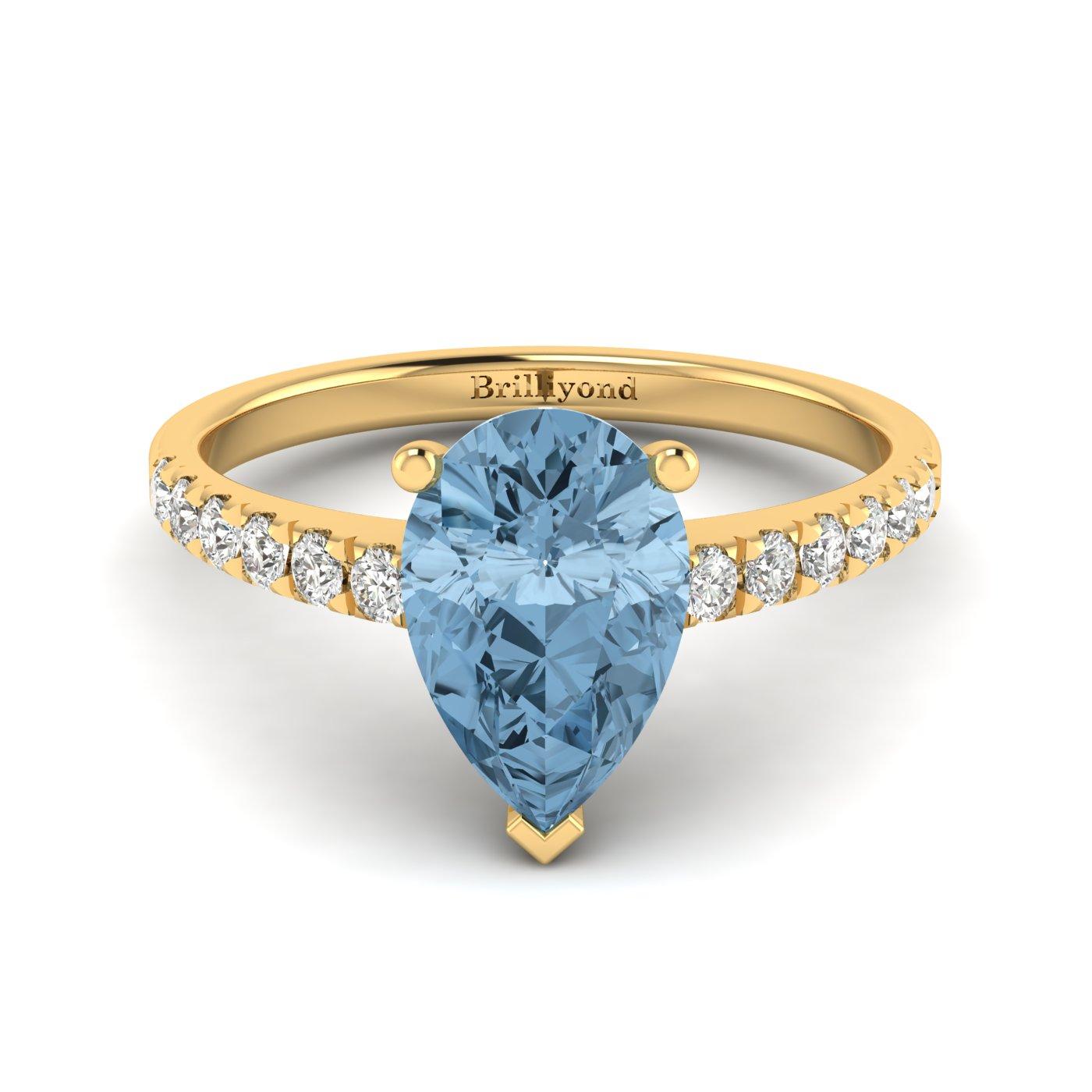 Natural Aquamarine and Diamonds Solitaire Engagement Ring in Australia