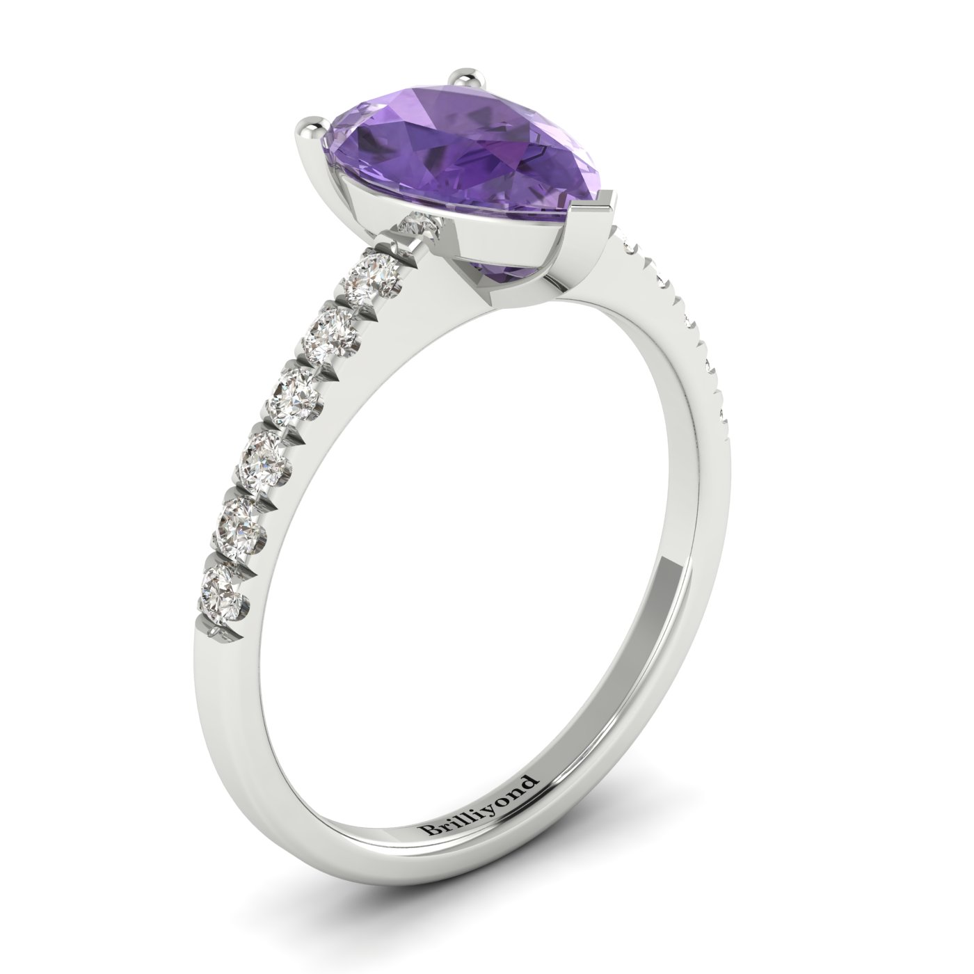 Amethyst White Gold Solitaire Engagement Ring Hera_image1