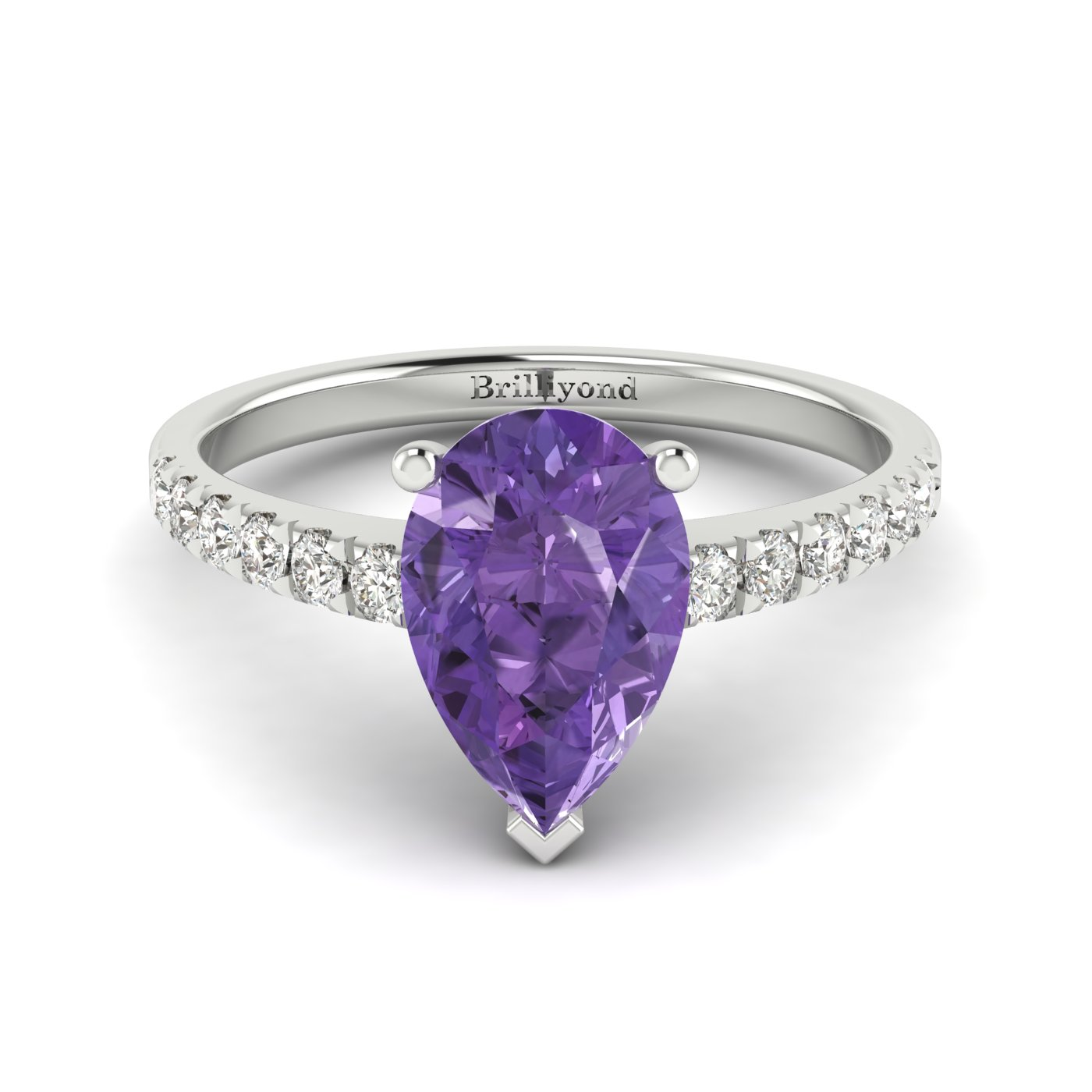 Amethyst White Gold Solitaire Engagement Ring Hera_image2