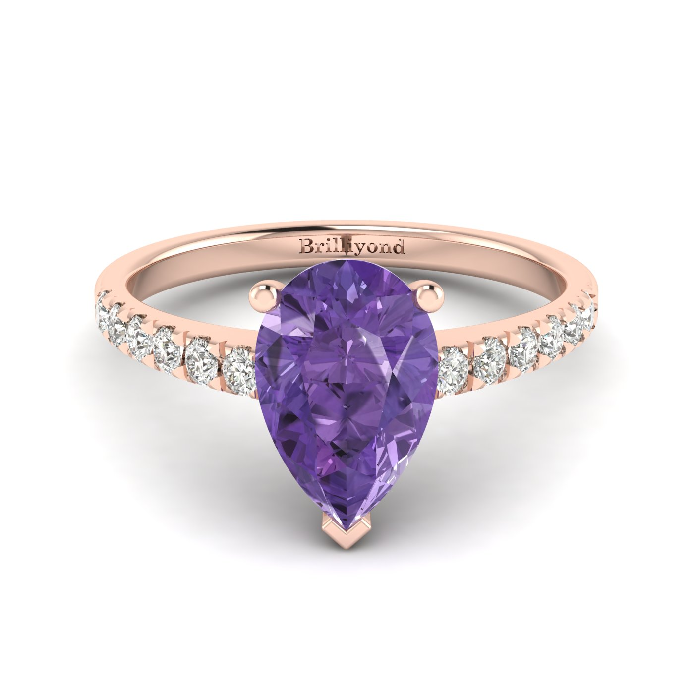 natural amethyst solitaire engagement ring in 18k rose. Black Bedroom Furniture Sets. Home Design Ideas