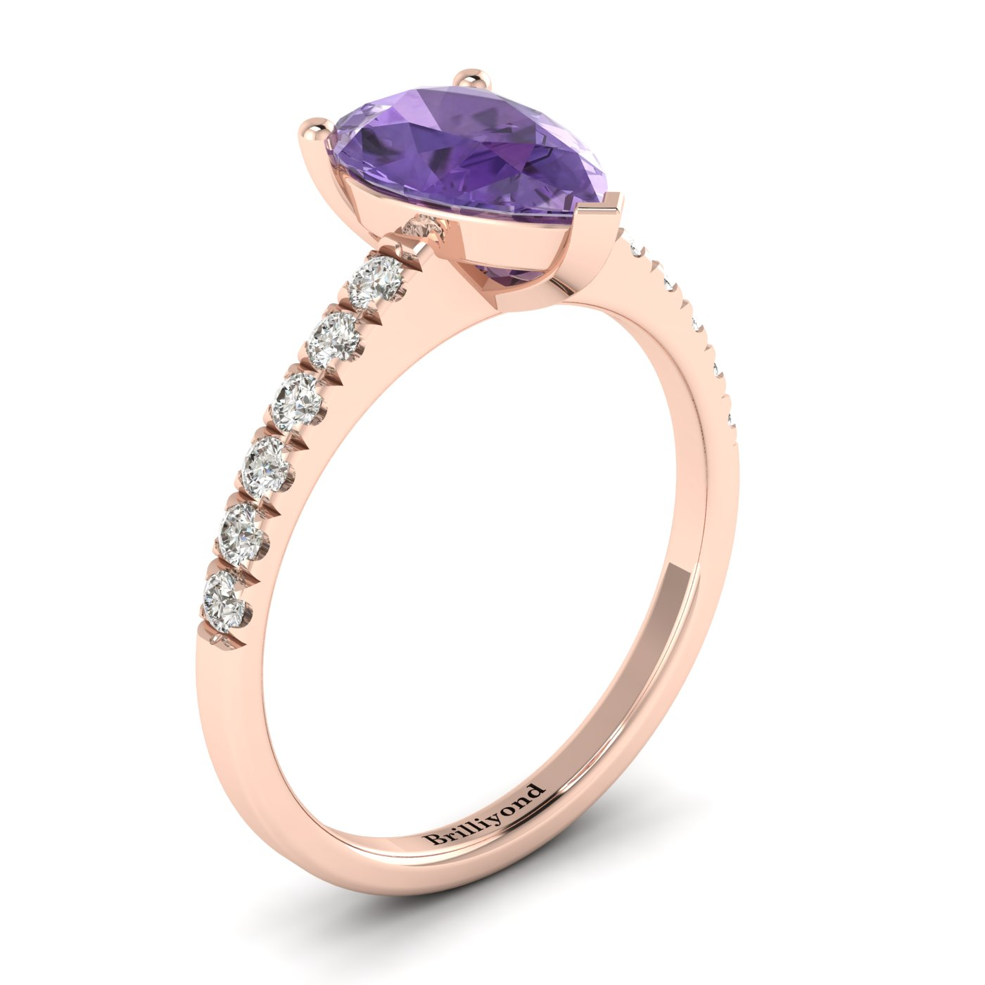 Amethyst Rose Gold Solitaire Engagement Ring Hera_image2