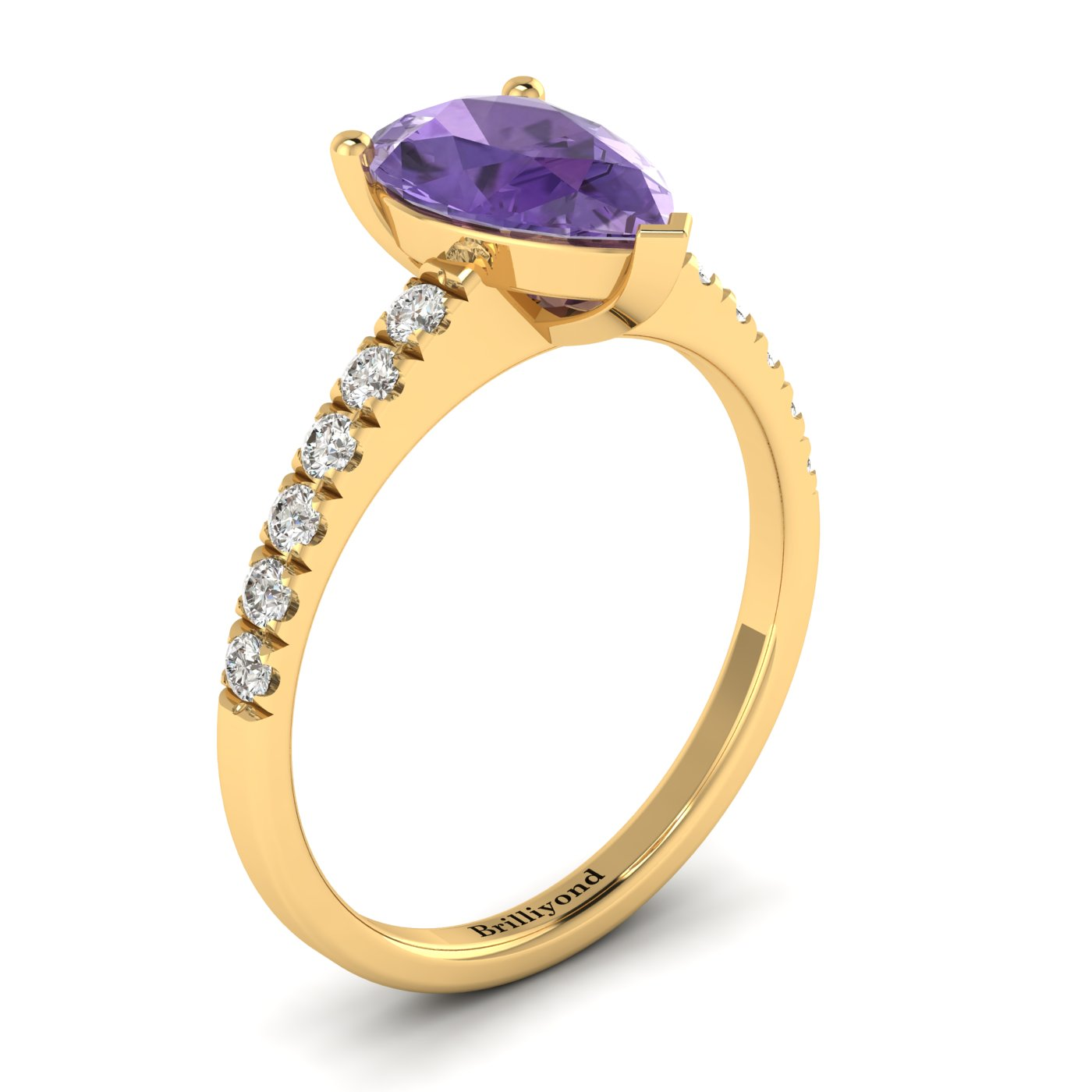 Amethyst Yellow Gold Solitaire Engagement Ring Hera_image1