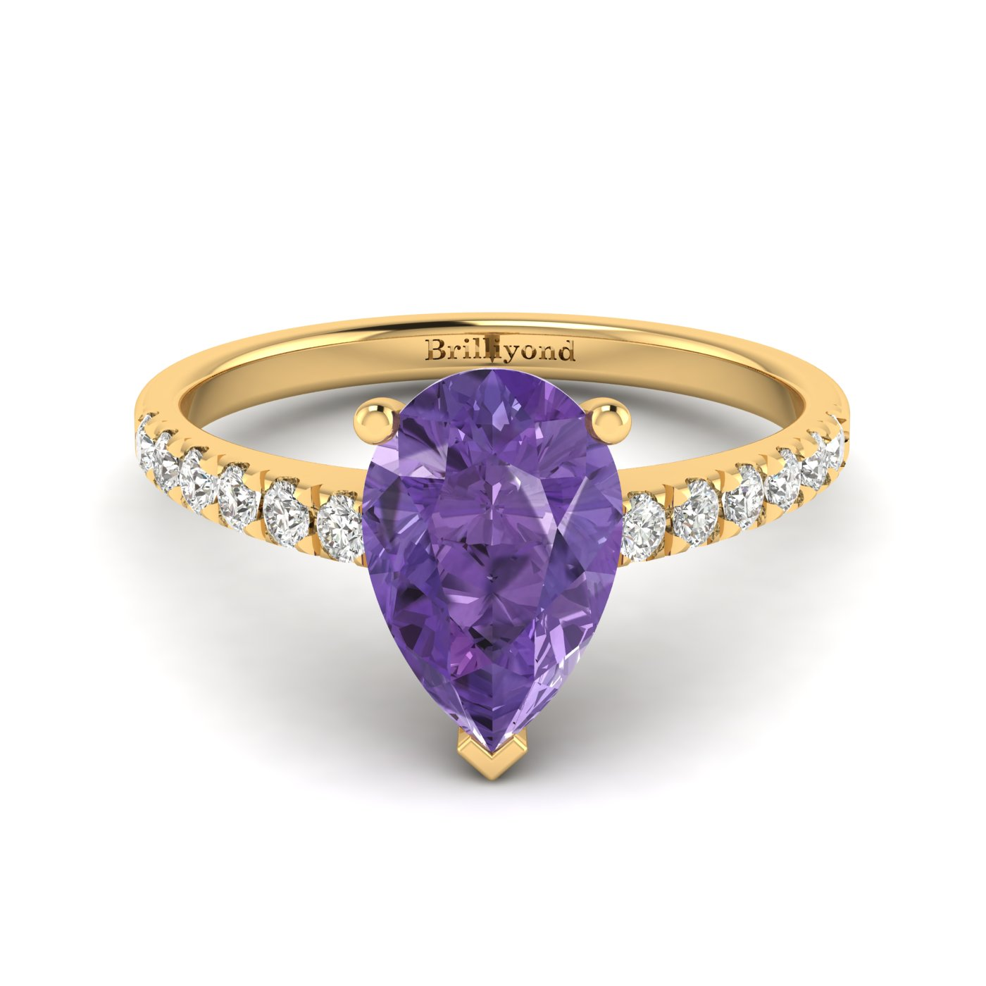 Amethyst Yellow Gold Solitaire Engagement Ring Hera_image2