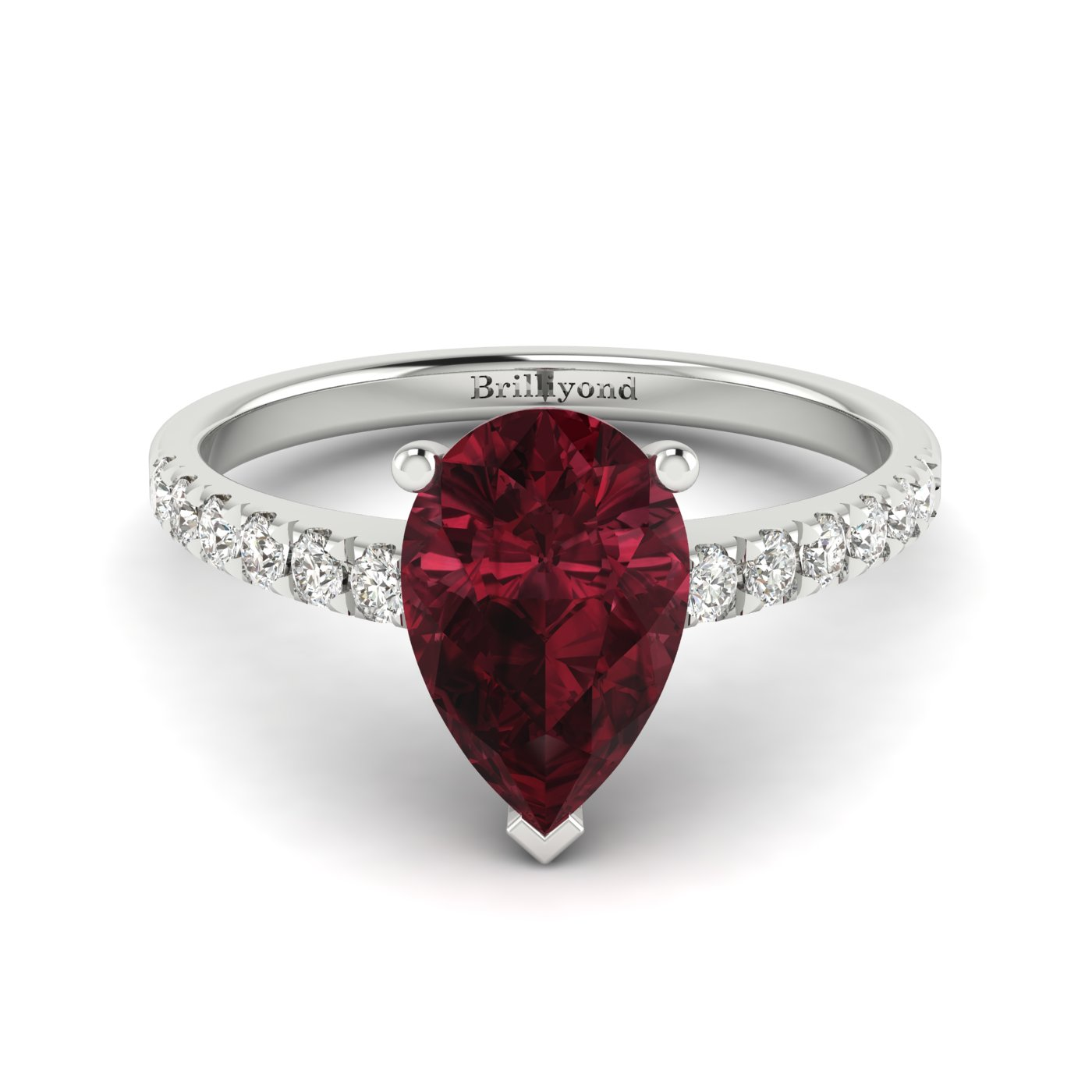 Garnet White Gold Solitaire Engagement Ring Hera_image1