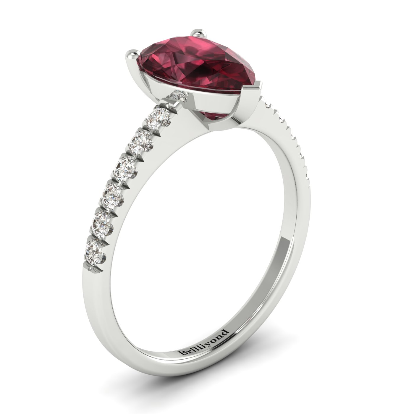 Garnet White Gold Solitaire Engagement Ring Hera_image2