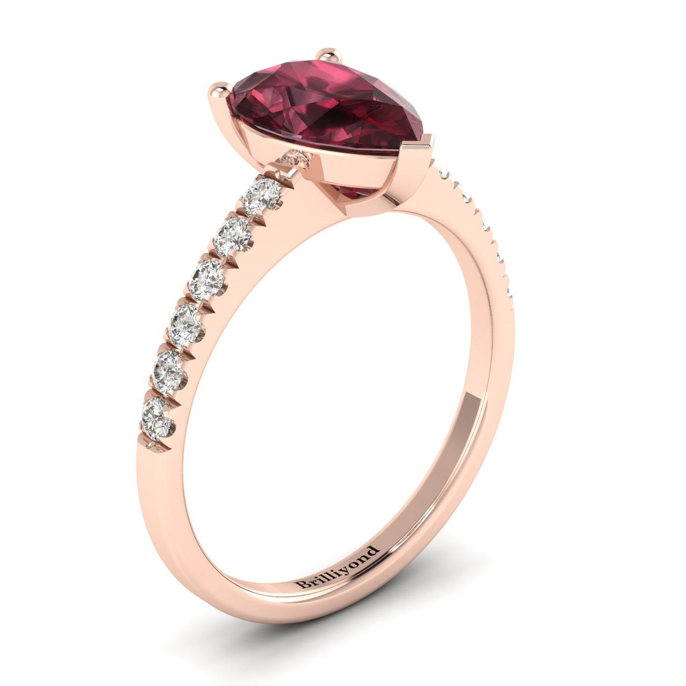 Garnet Rose Gold Solitaire Engagement Ring Hera_image1