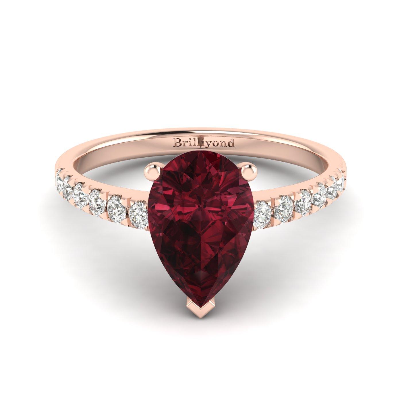 Garnet Rose Gold Solitaire Engagement Ring Hera_image2