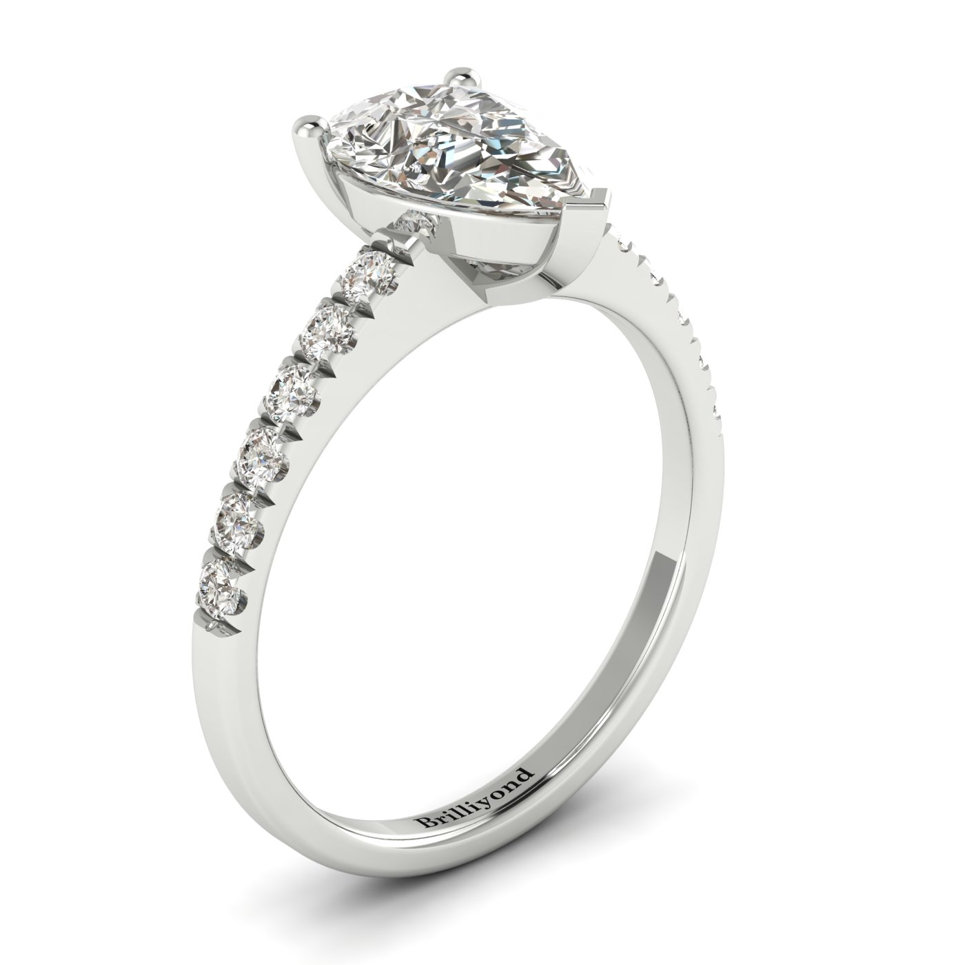 White Sapphire White Gold Solitaire Engagement Ring Hera_image1