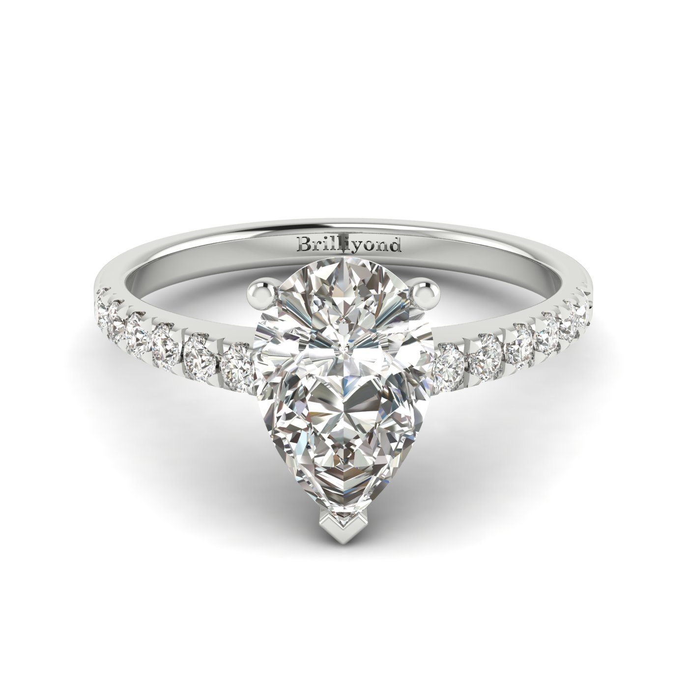 White Sapphire White Gold Solitaire Engagement Ring Hera_image2