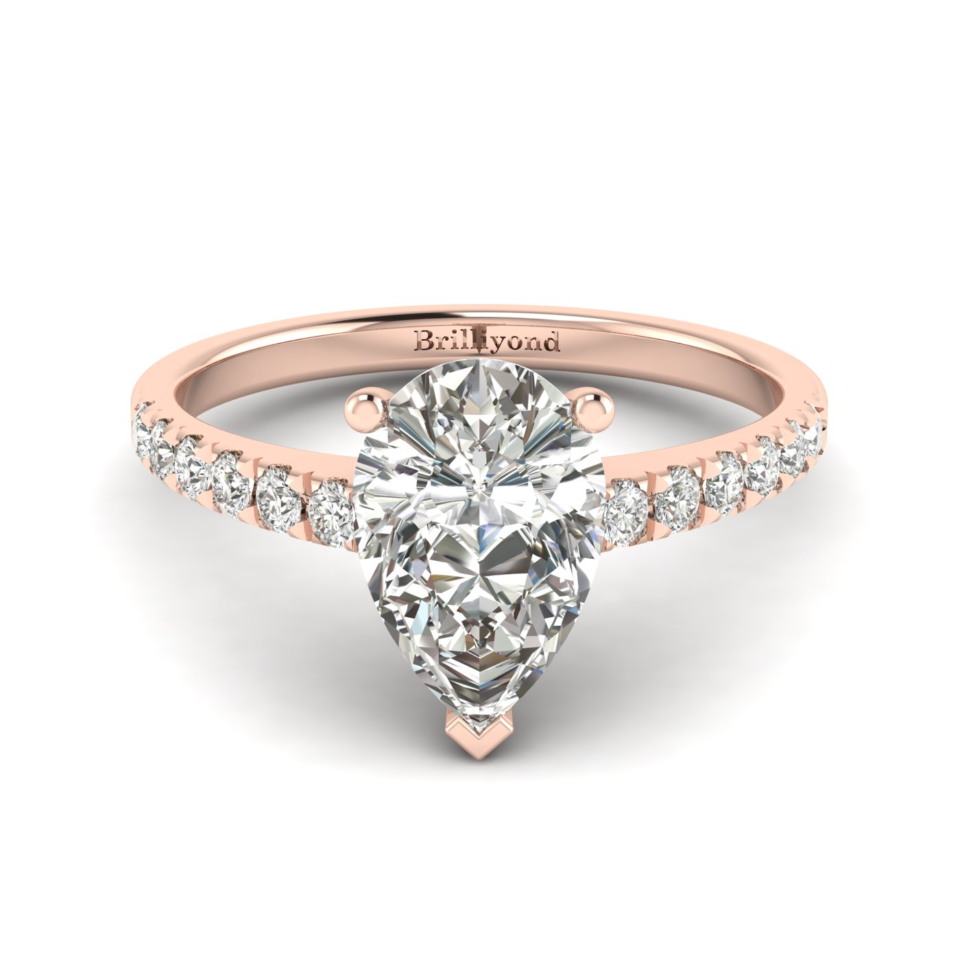 White Sapphire Rose Gold Solitaire Engagement Ring Hera_image1