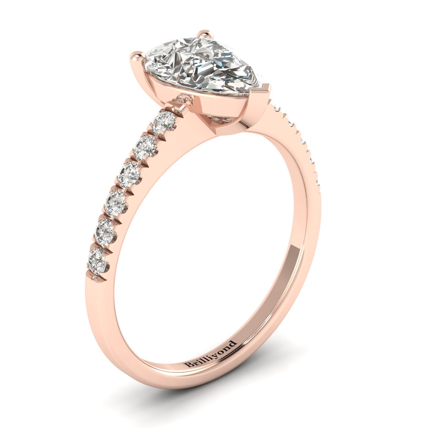 White Sapphire Rose Gold Solitaire Engagement Ring Hera_image2
