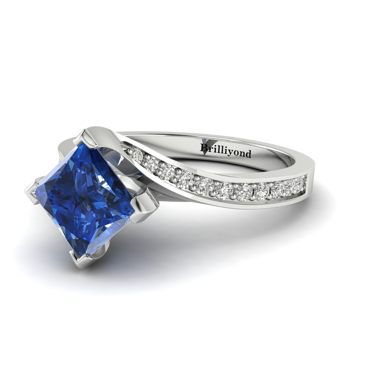Blue Sapphire White Gold Cushion Cut Engagement Ring Luxy_image1