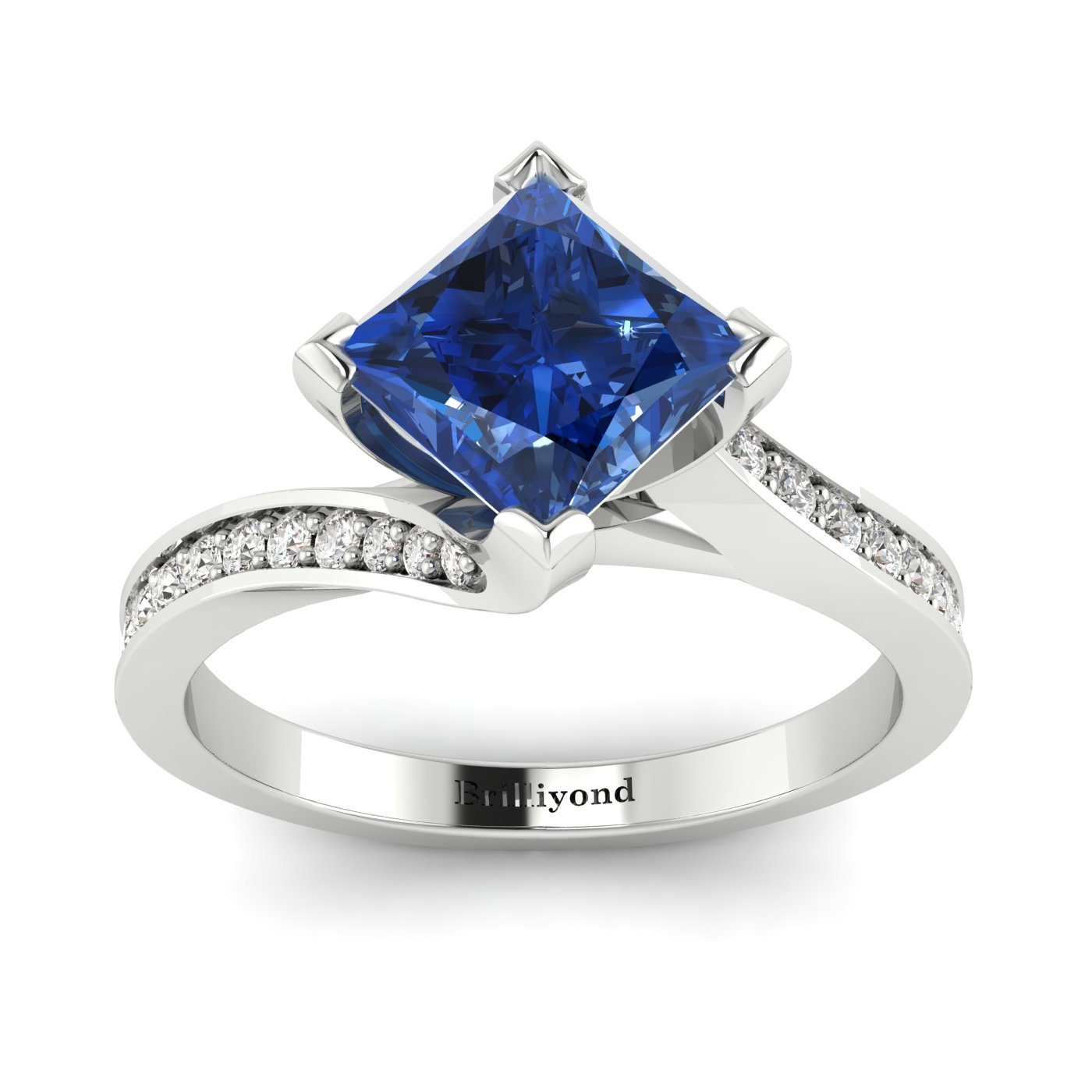 Blue Sapphire White Gold Cushion Cut Engagement Ring Luxy_image2