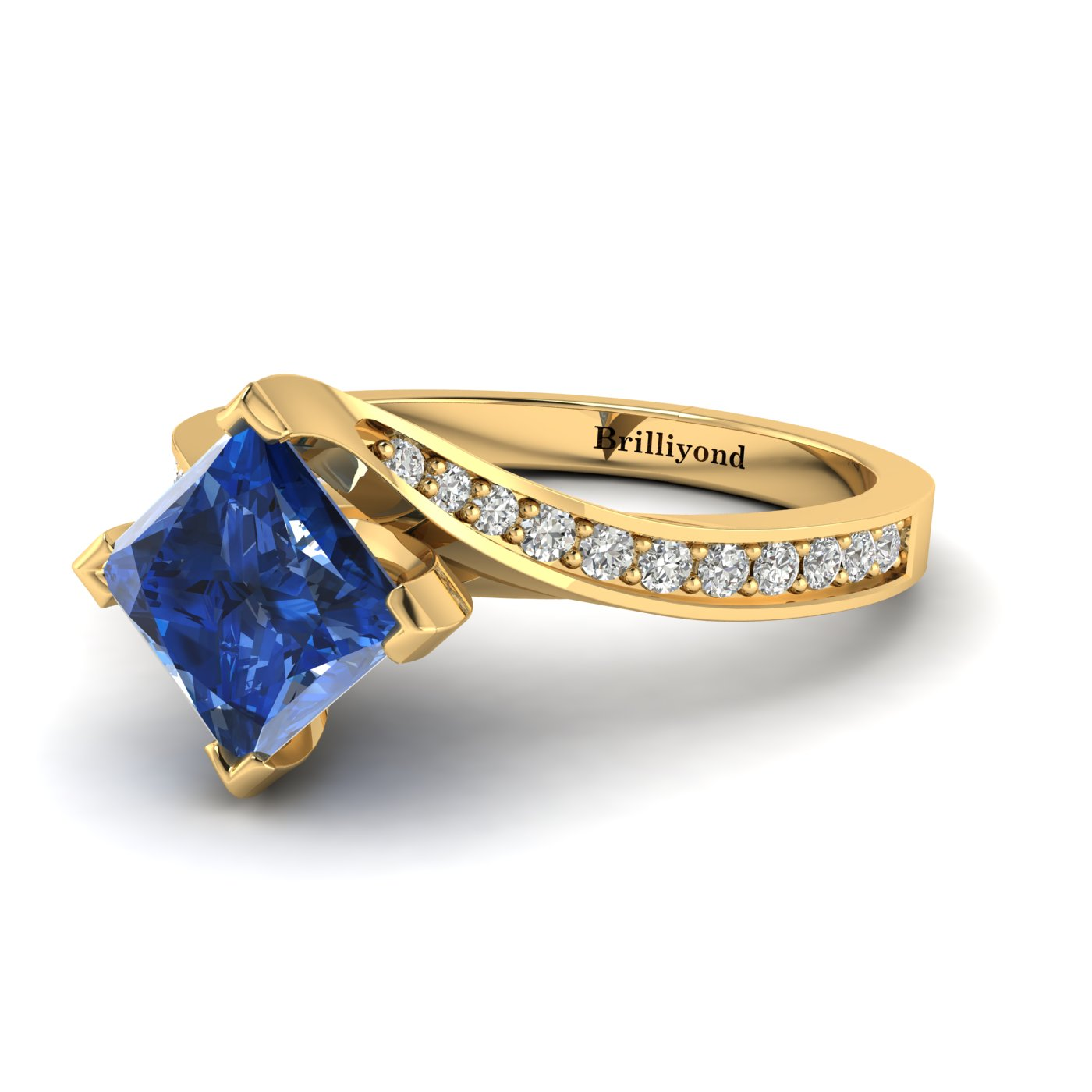 Blue Sapphire Yellow Gold Cushion Cut Engagement Ring Luxy_image1