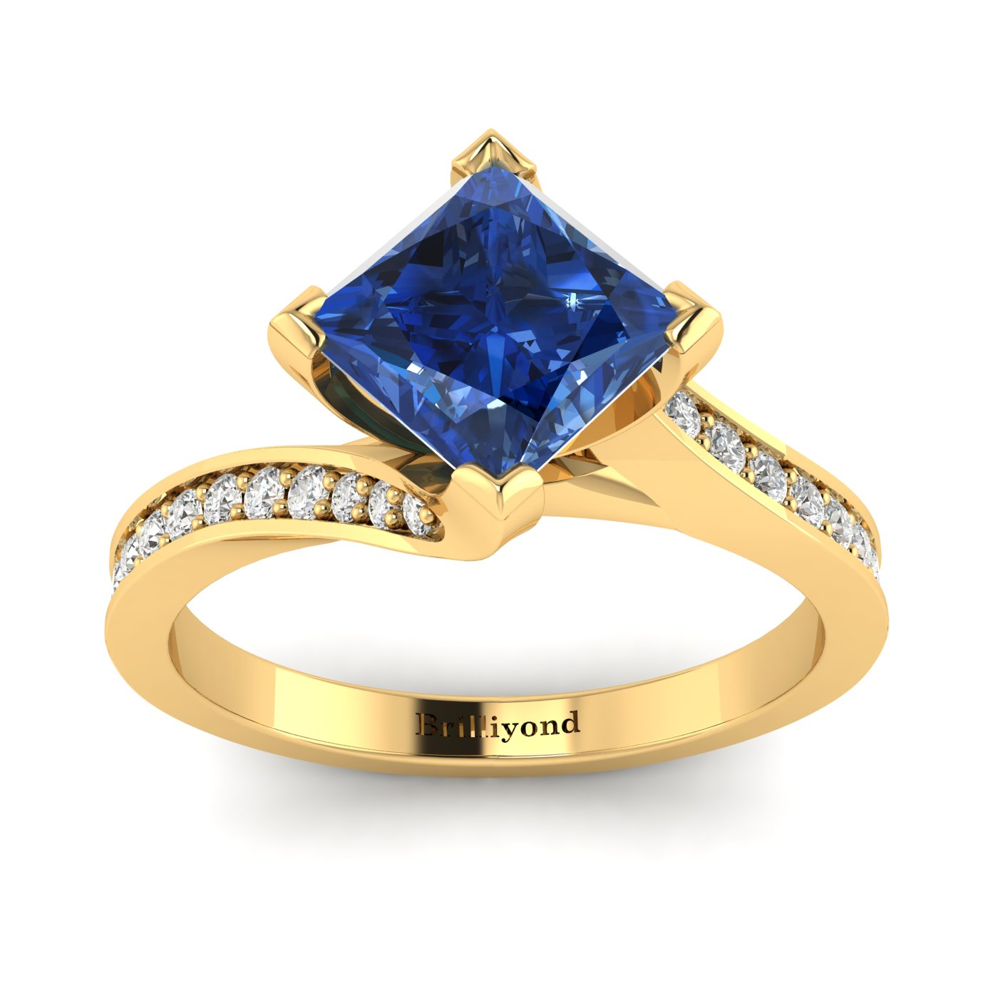 Blue Sapphire Yellow Gold Cushion Cut Engagement Ring Luxy_image2