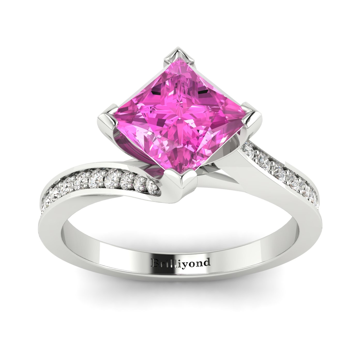 Pink Sapphire White Gold Cushion Cut Engagement Ring Luxy_image1