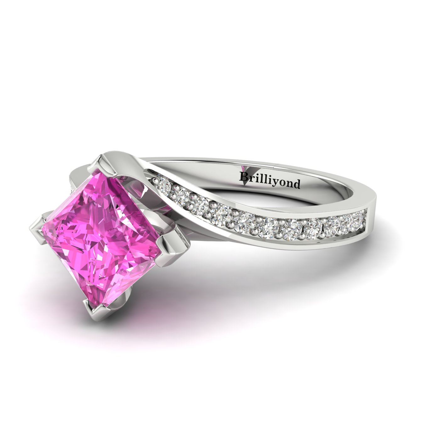 Pink Sapphire White Gold Cushion Cut Engagement Ring Luxy_image2