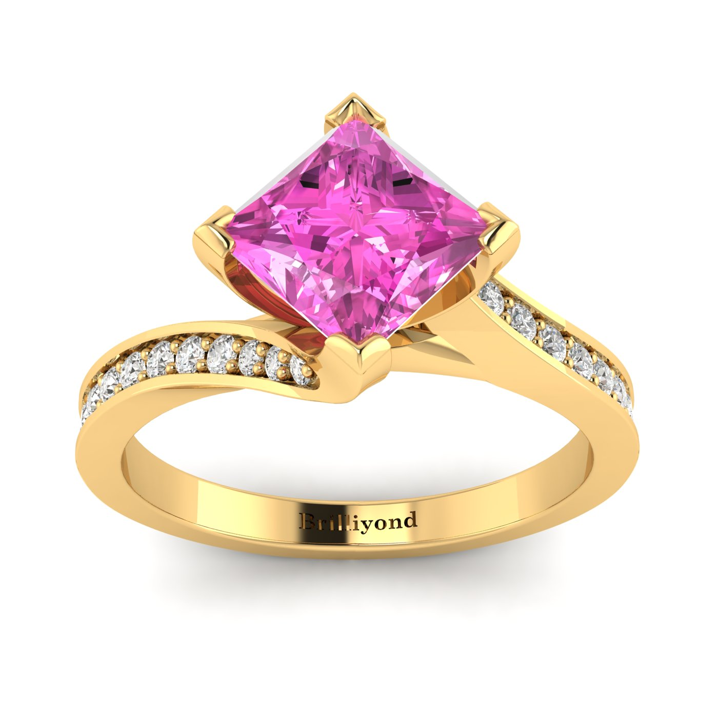 Pink Sapphire Yellow Gold Cushion Cut Engagement Ring Luxy_image1