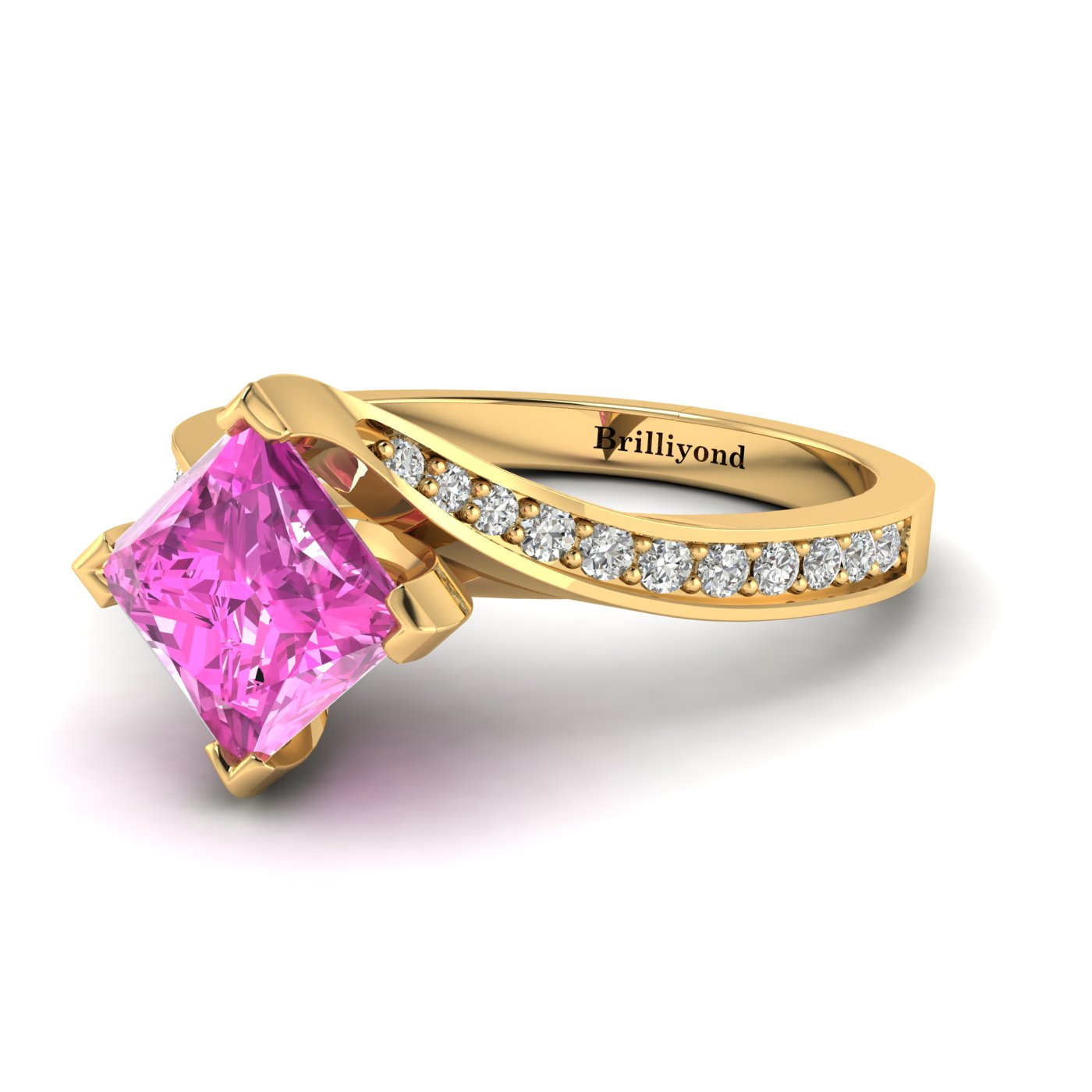 Pink Sapphire Yellow Gold Cushion Cut Engagement Ring Luxy_image2