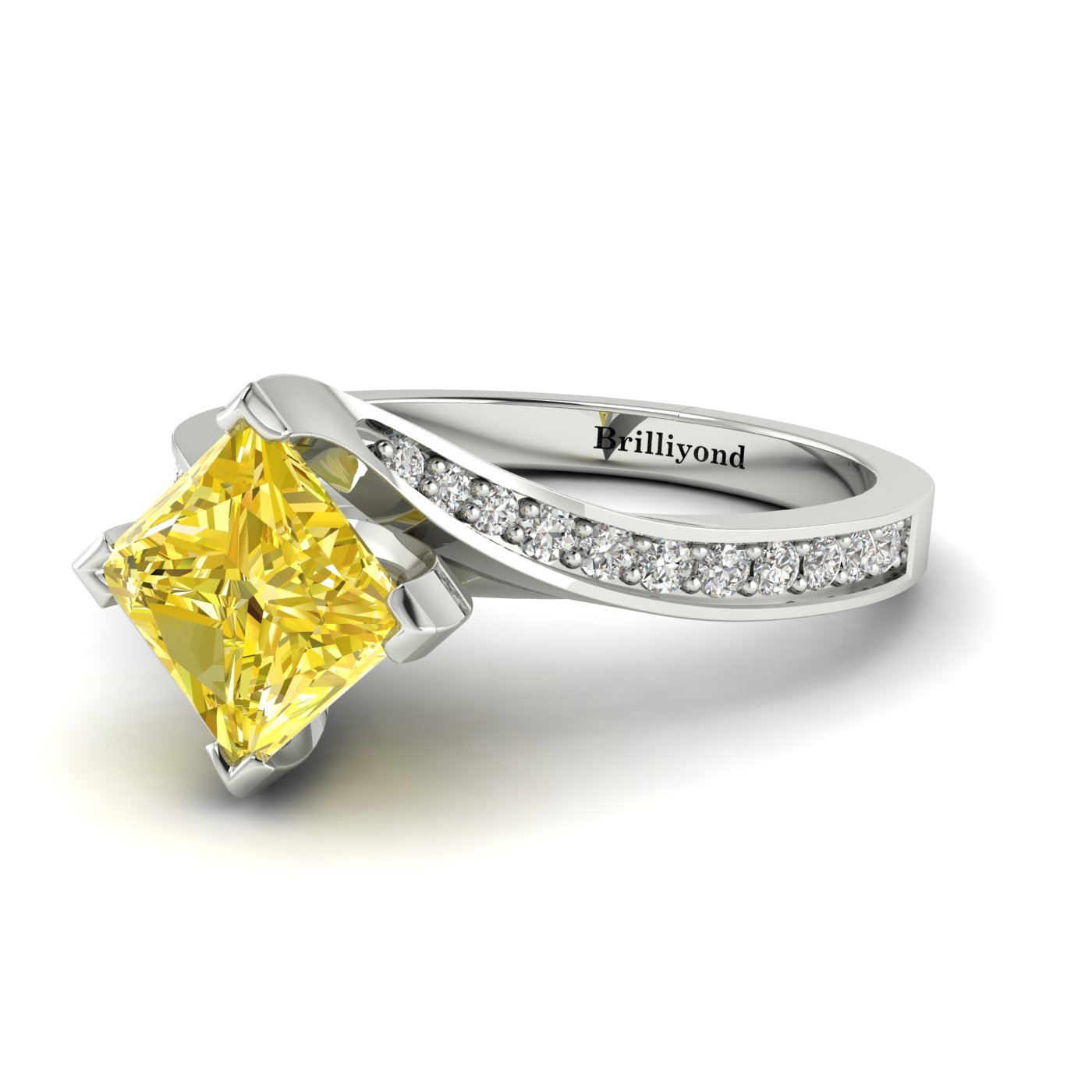 Yellow Sapphire White Gold Cushion Cut Engagement Ring Luxy_image1