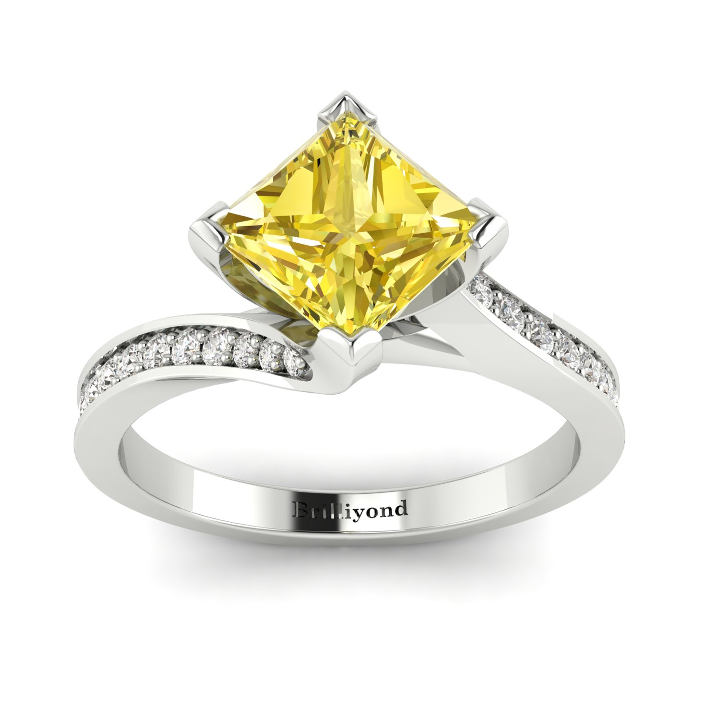 Yellow Sapphire White Gold Cushion Cut Engagement Ring Luxy_image2