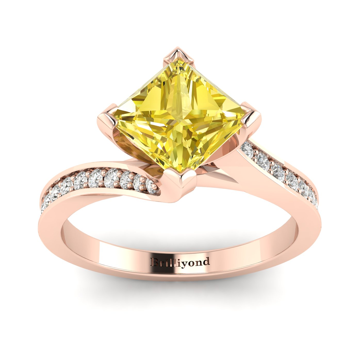 Yellow Sapphire Rose Gold Cushion Cut Engagement Ring Luxy_image1