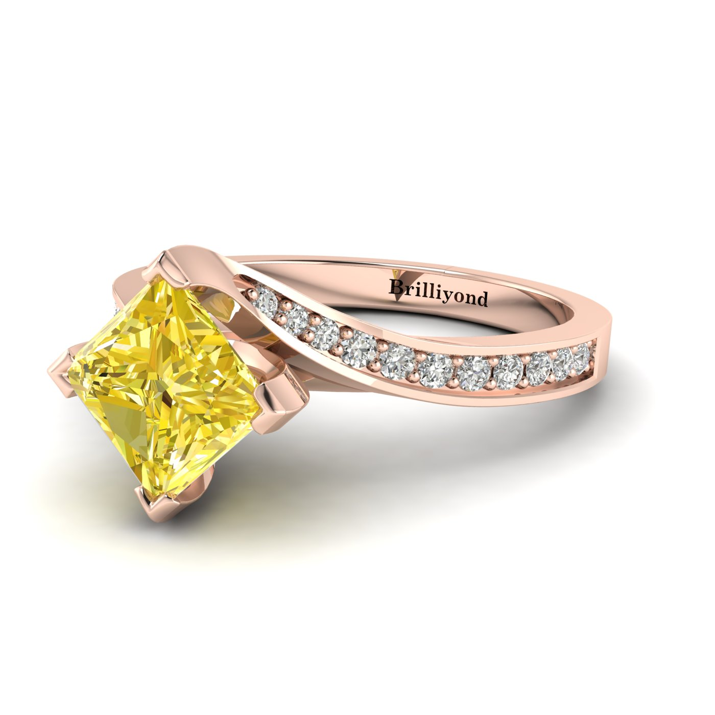 Yellow Sapphire Rose Gold Cushion Cut Engagement Ring Luxy_image2