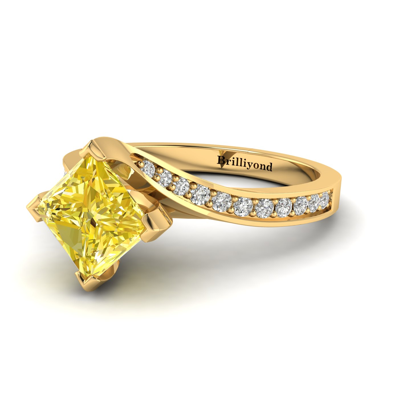Yellow Sapphire Yellow Gold Cushion Cut Engagement Ring Luxy_image1