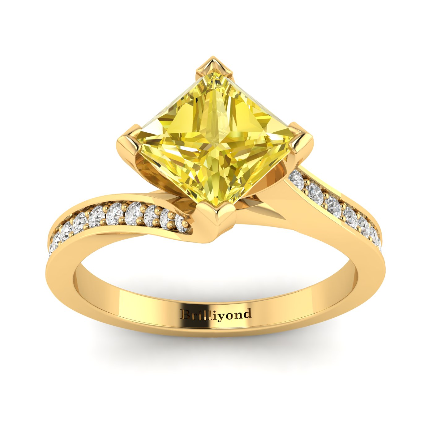 Yellow Sapphire Yellow Gold Cushion Cut Engagement Ring Luxy_image2