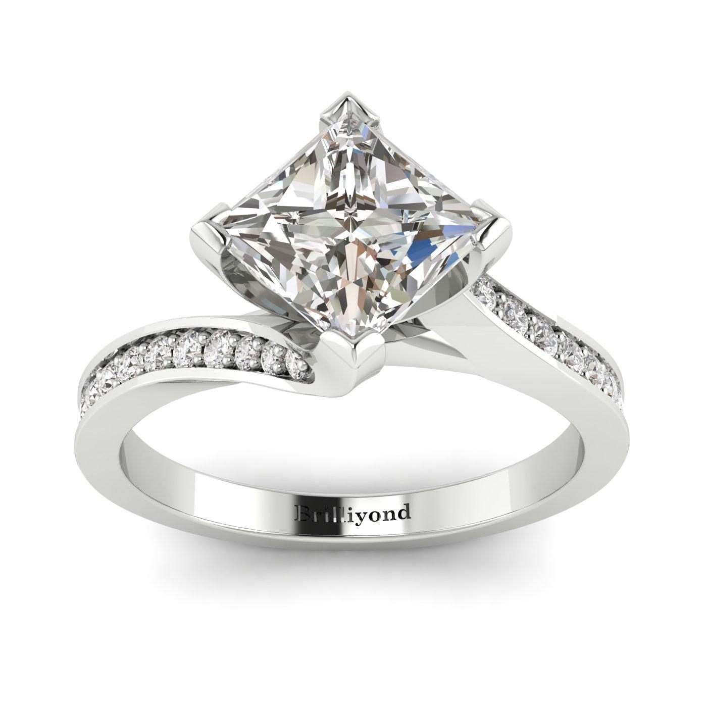 Diamond Platinum Cushion Cut Engagement Ring Luxy_image1